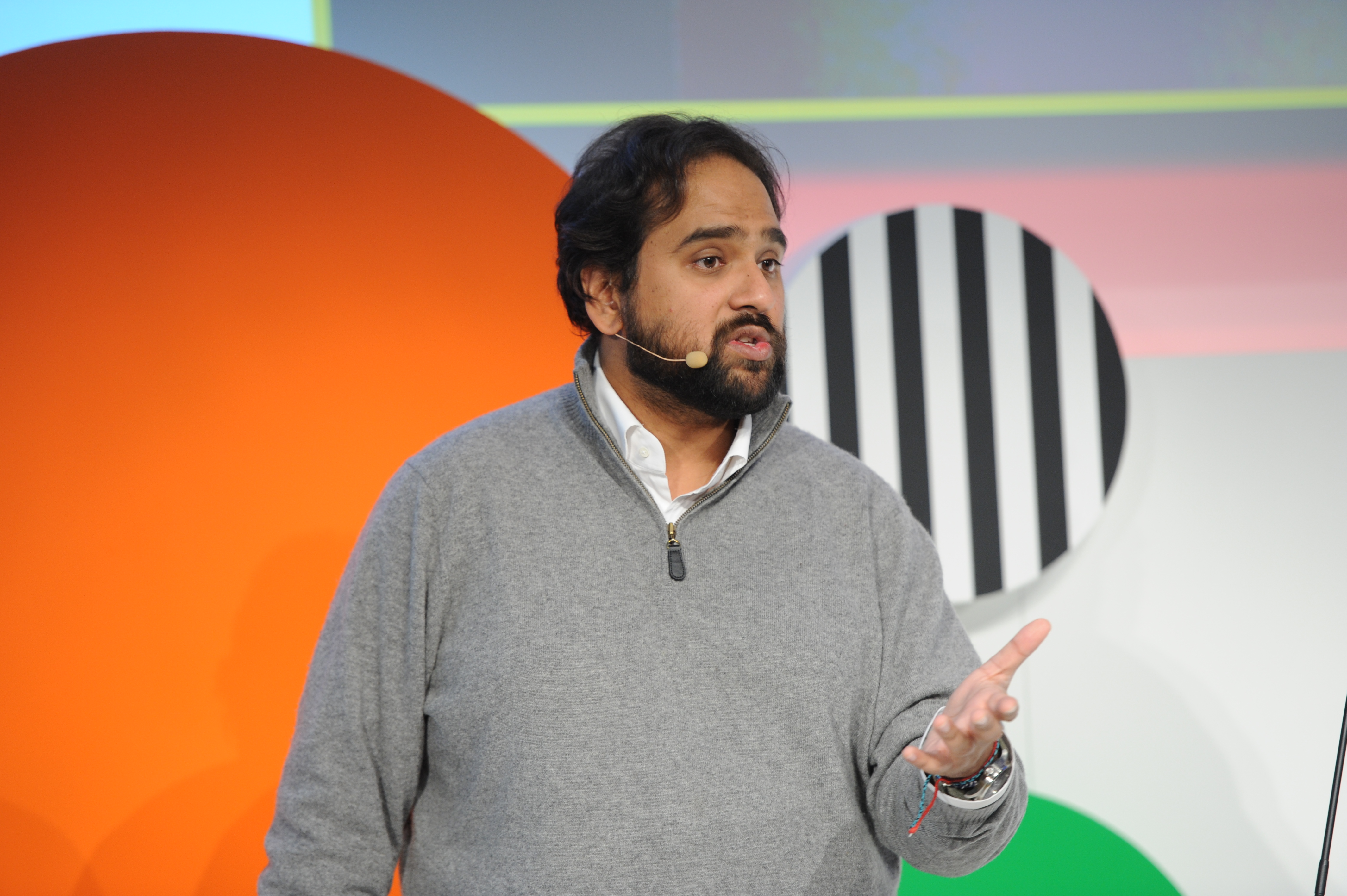 Jawbone CEO Hosian Rahman gestures on the podium during the Digital Life Design (DLD) Conference at the HVB Forum on January 21, 2014 in Munich, Germany.
