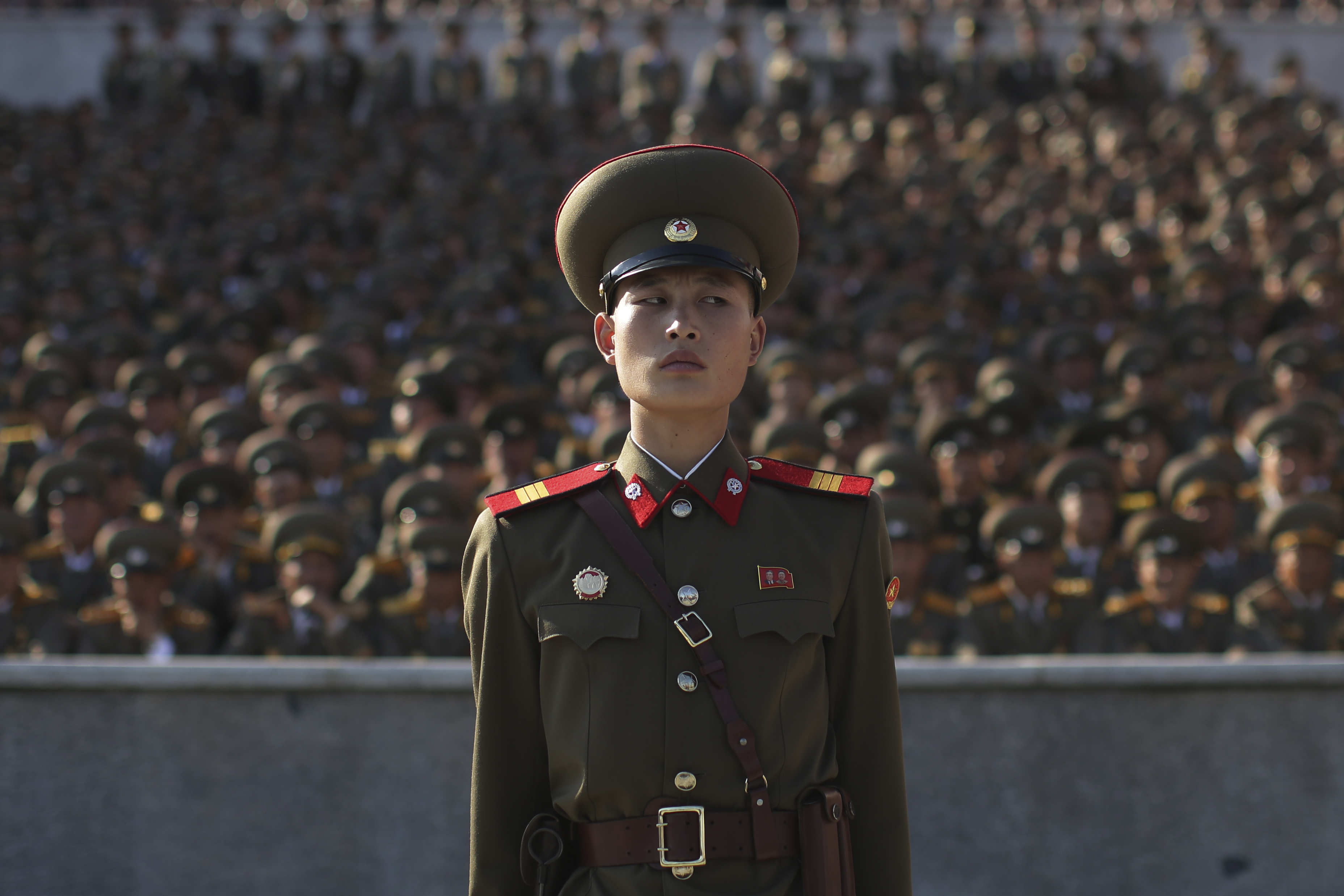 A soldier stands at a parade in Pyongyang, North Korea, on Oct. 10, 2015.