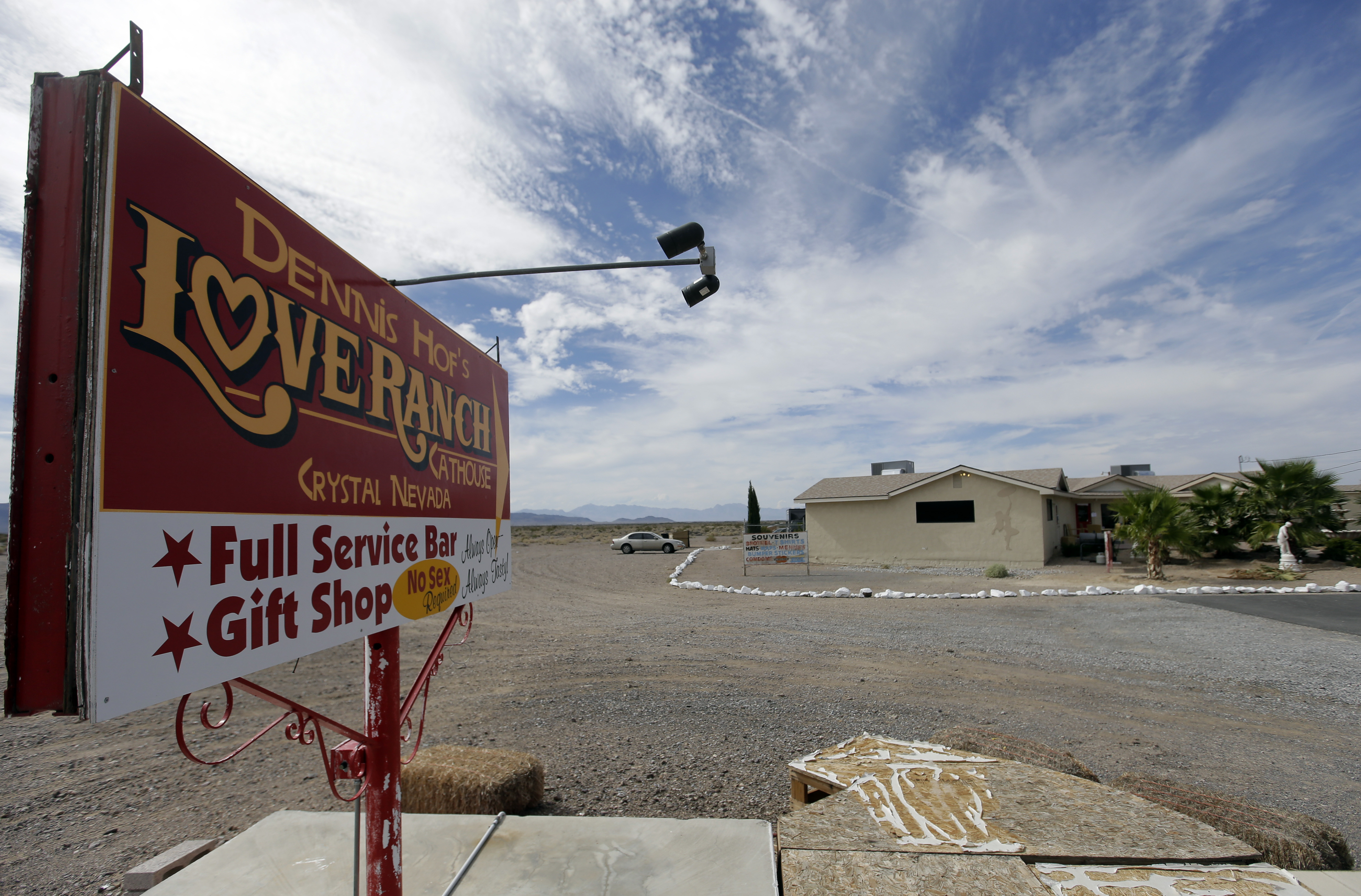 A sign advertises the Love Ranch brothel Oct. 14, 2015, in Crystal, Nev., were former NBA basketball player Lamar Odom was found unconscious the day before.