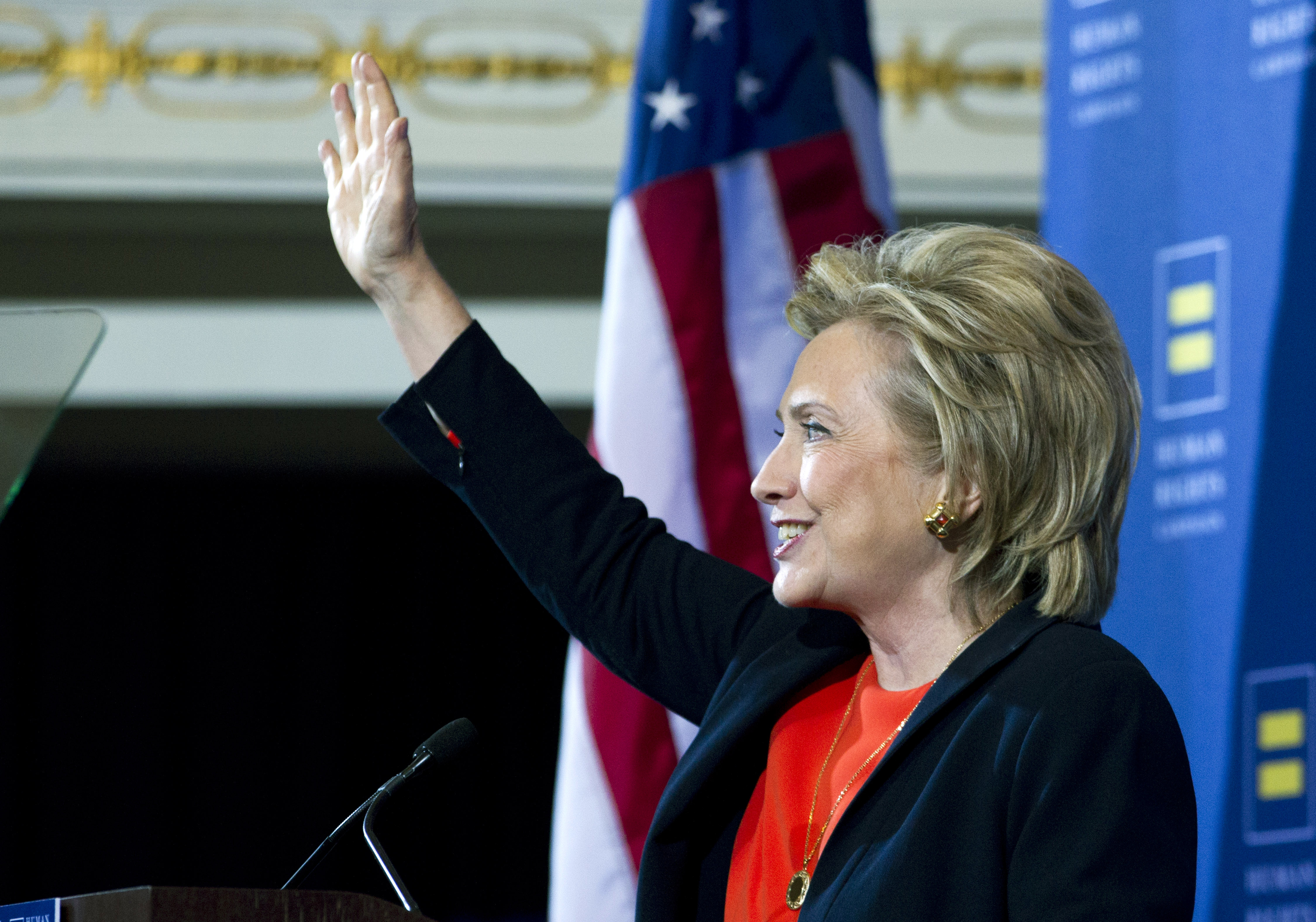 Hillary Clinton gestures as she speaks to the Human Rights Campaign in Washington, on Oct. 3, 2015.