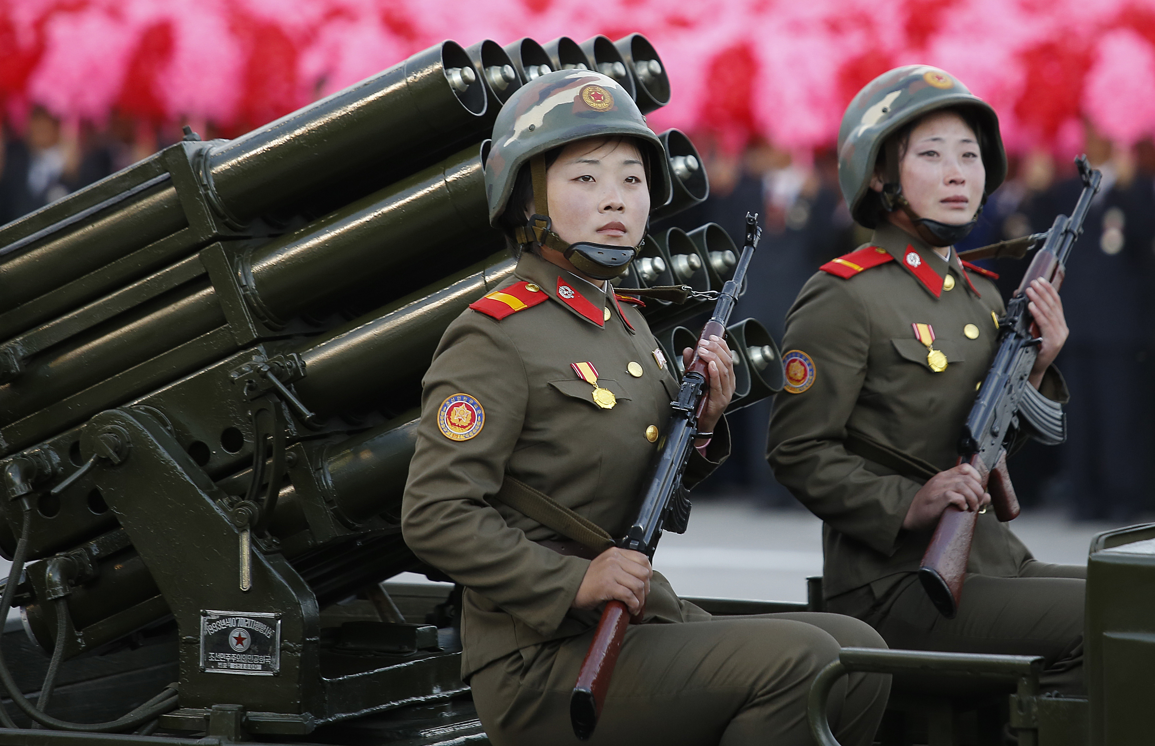 North Korean soldiers parade through Kim Il Sung Square with their missiles and rockets during a mass military parade, on Oct. 10, 2015, in Pyongyang, North Korea.