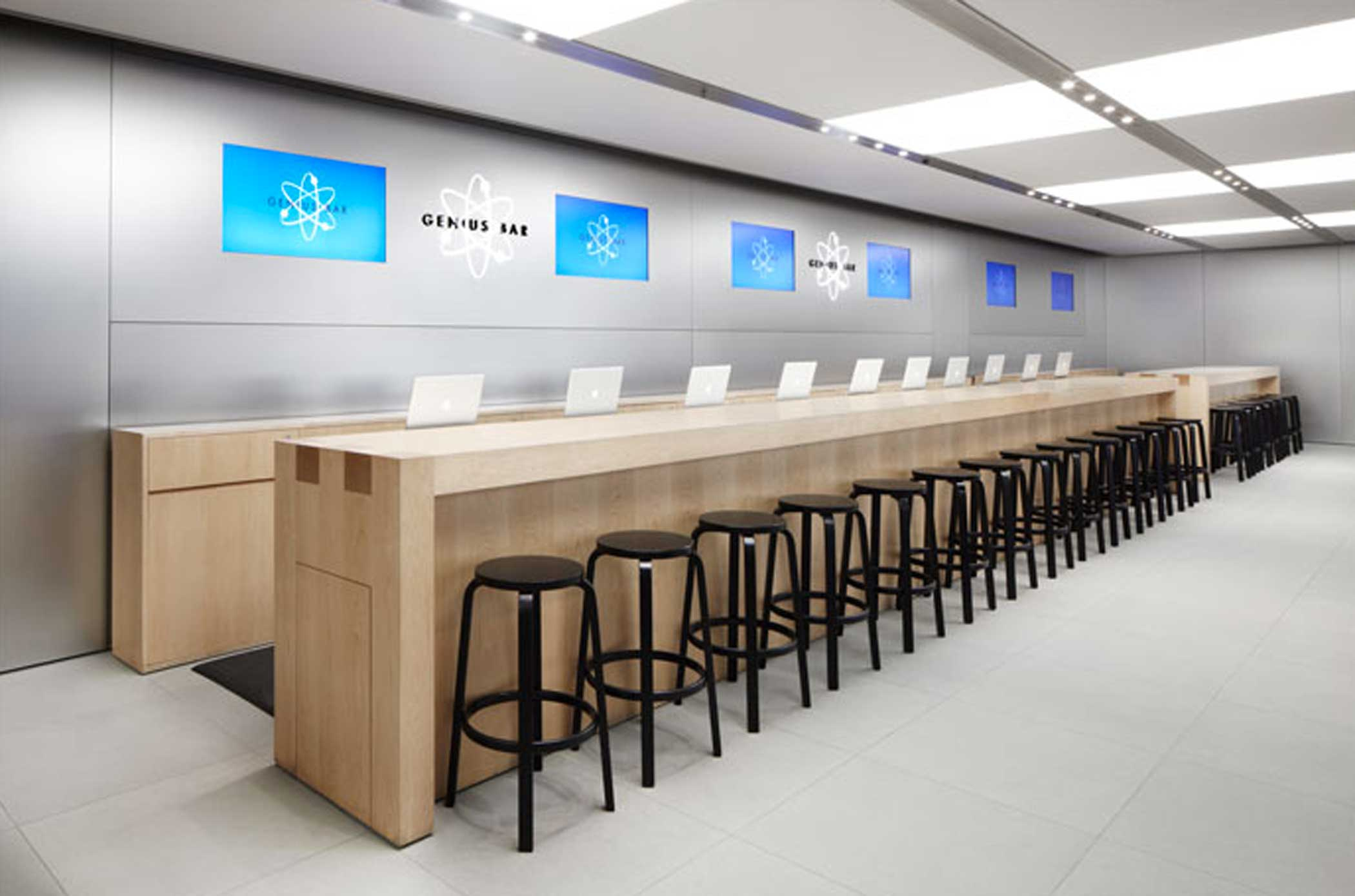 <b>Apple Store</b> genius bar in the Fifth Ave. Apple Store in New York.