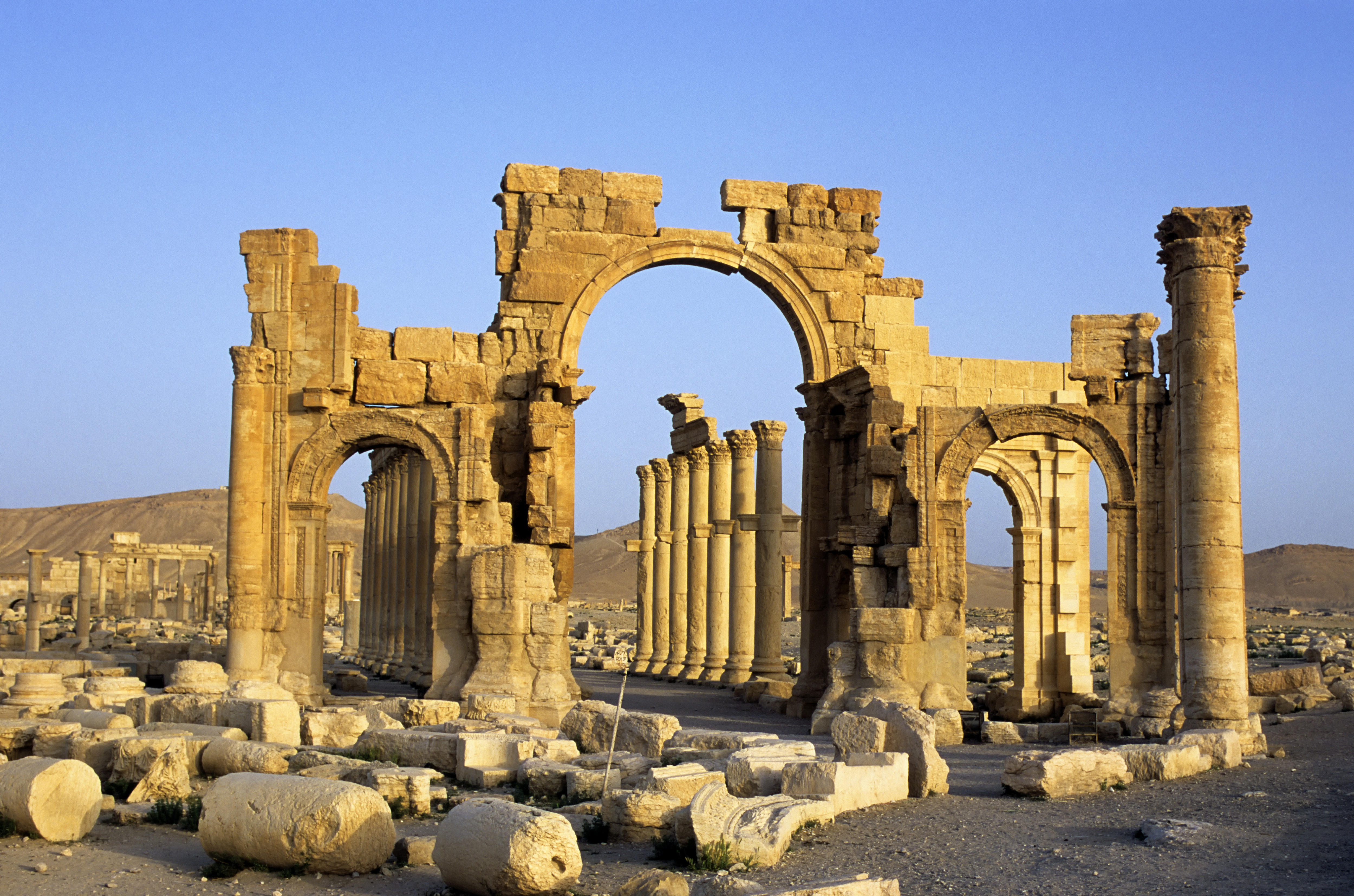 Syria, Palmyra, Ancient Roman City, Triumphal Arch And Colonnaded Street on Jan. 1, 2001.