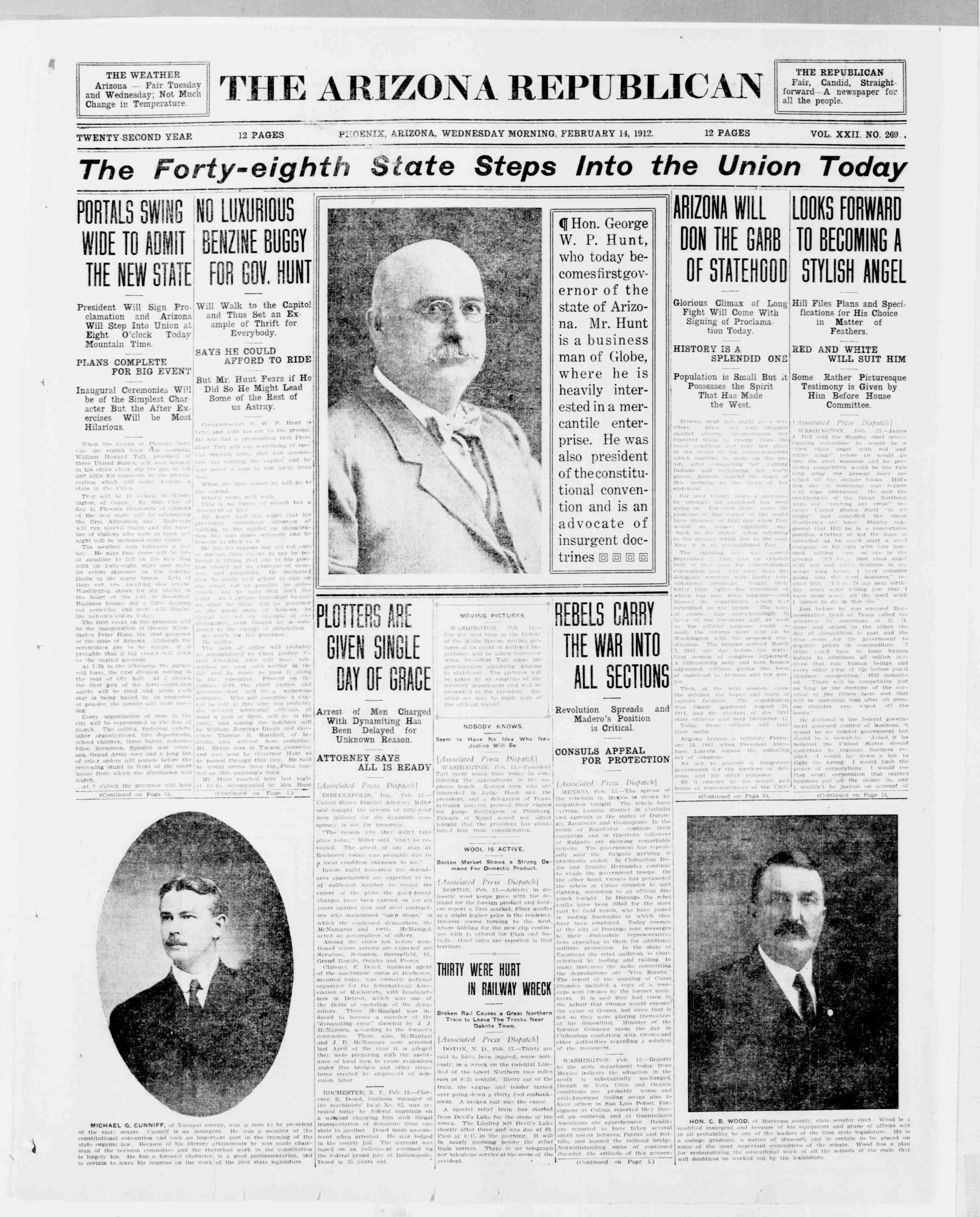 Arizona Republican. (Phoenix, Ariz.), Feb. 14, 1912. Front page news: Admission the state of Arizona to the union.