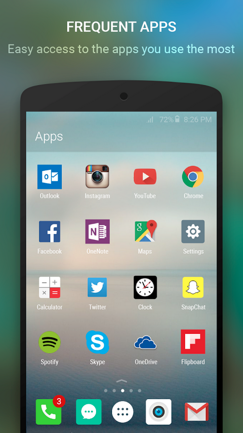 Arrow for Android organizes apps by how frequently they're used.