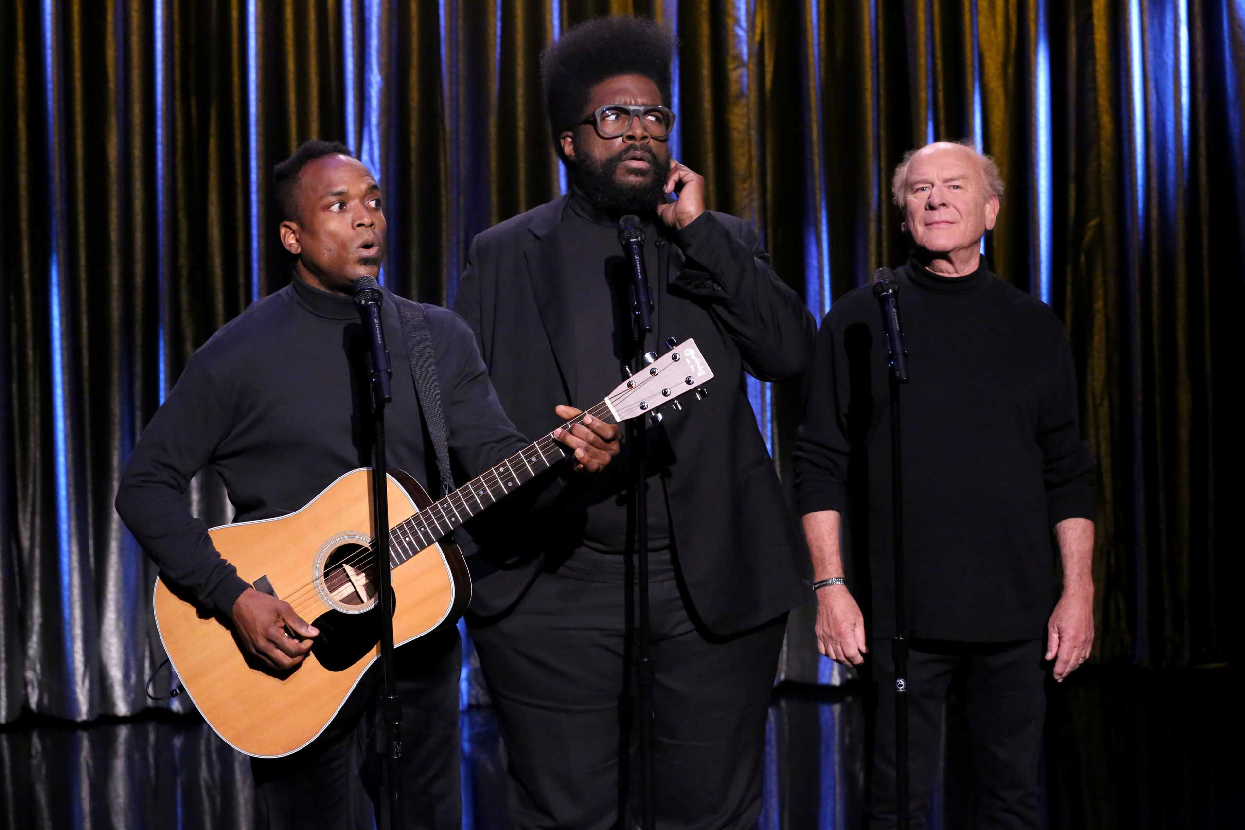 "THE TONIGHT SHOW STARRING JIMMY FALLON -- Episode 0340 -- Pictured: (l-r) Kirk ""Captain Kirk"" Douglas, and Ahmir  Questlove  Thompson as Black Simon and Garfunkel with Art Garfunkel on Sept. 30, 2015."