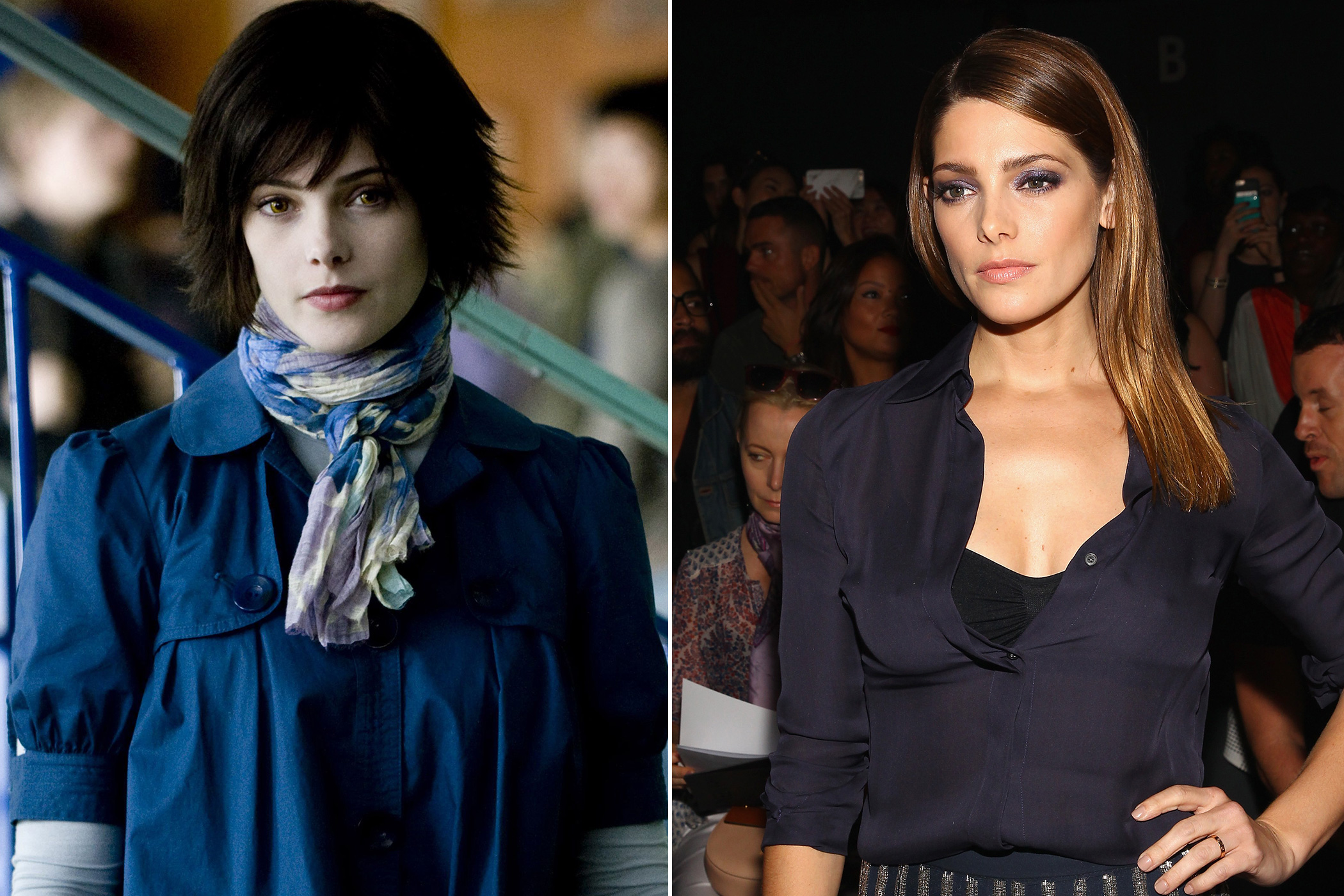 Left: Ashley Greene as Alice Cullen in The Twilight Saga: The New Moon, 2009; Right: in 2015