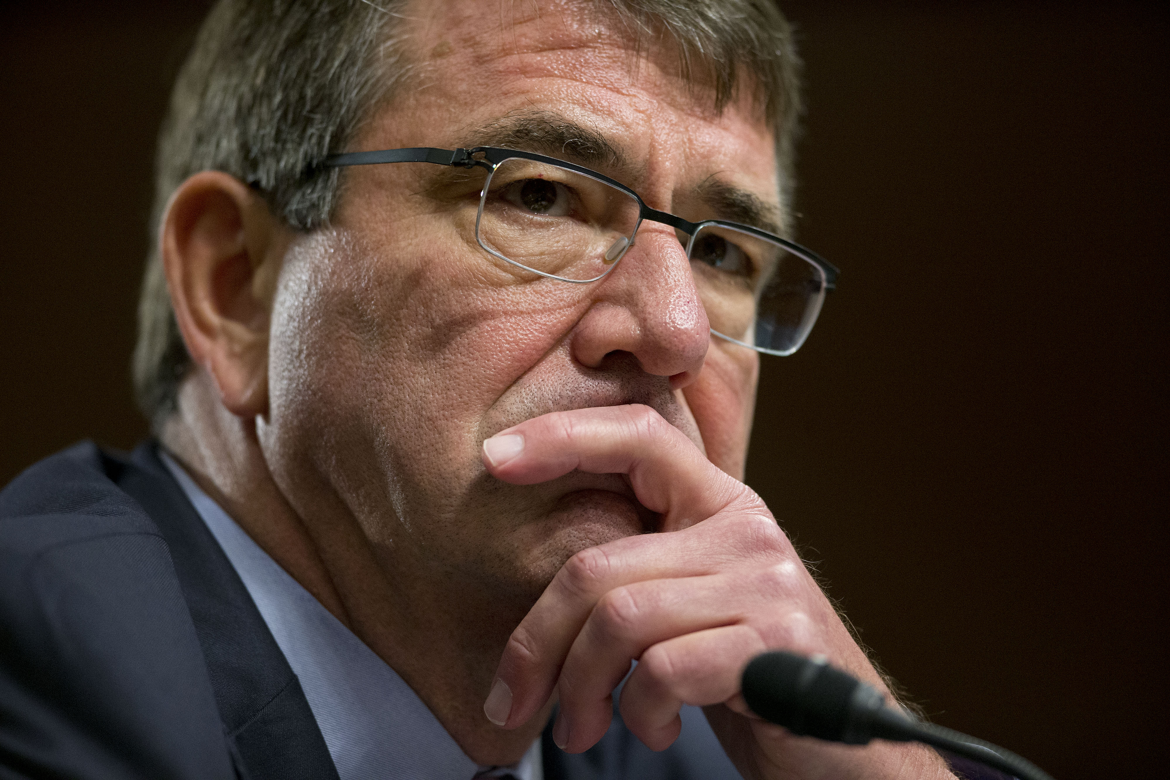 Ashton Carter listens during a Senate Armed Services Committee hearing on the U.S. military strategy in the Middle East in Washington, D.C. on Oct. 27, 2015.