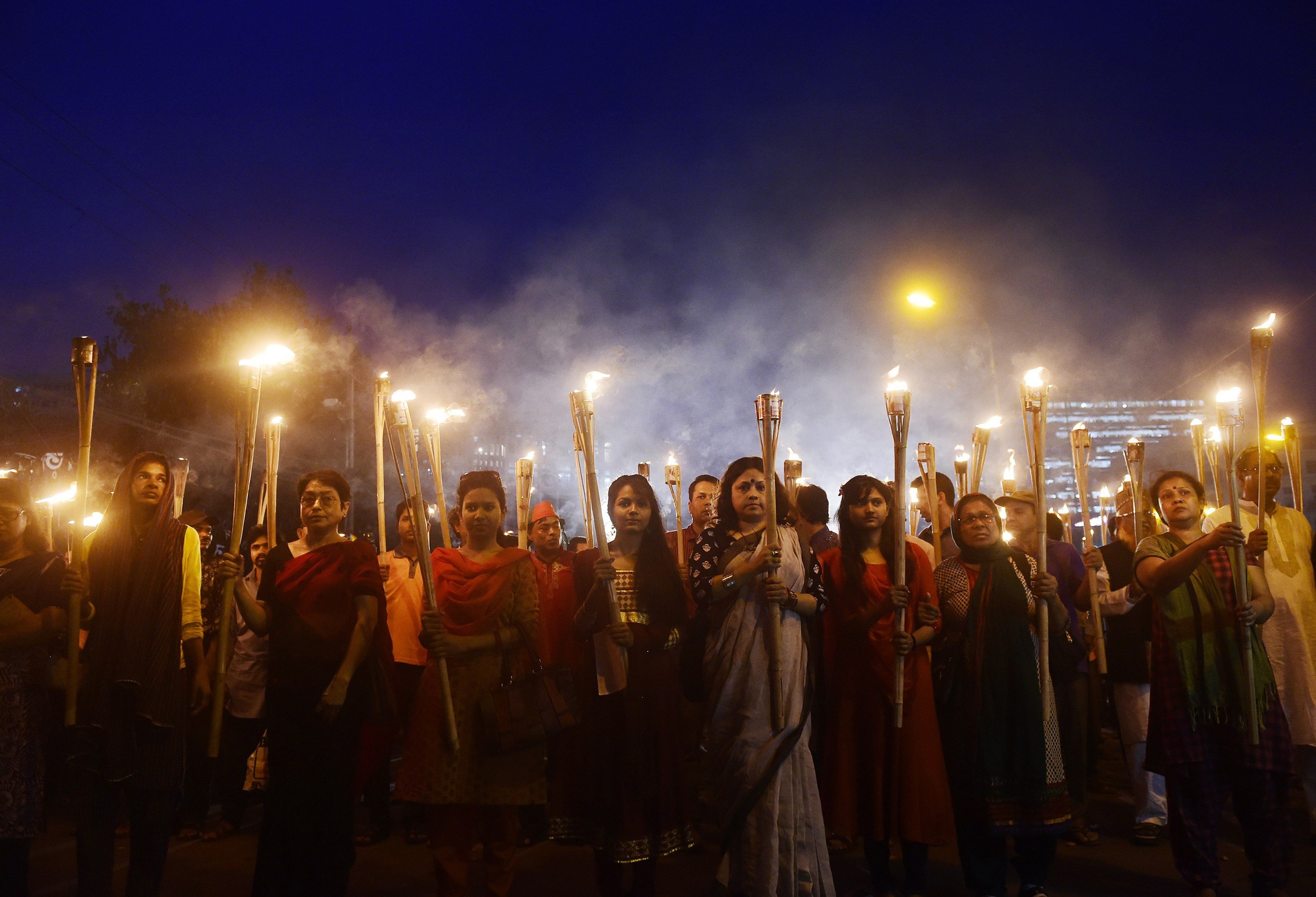 Bangladeshi activists take part in a protest in Dhaka on Feb. 27 over the murder of the secular blogger Avijit Roy.