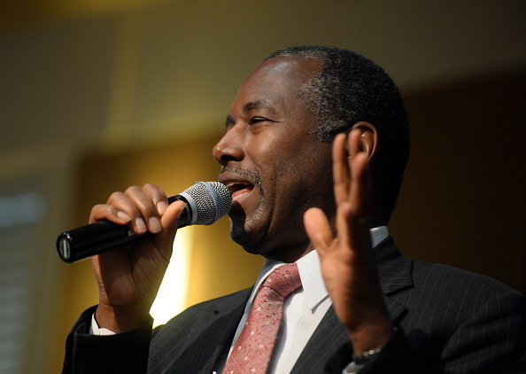 Republican presidential candidate Ben Carson speaks during a town hall event at River Woods September 30, 2015 in Exeter, New Hampshire.