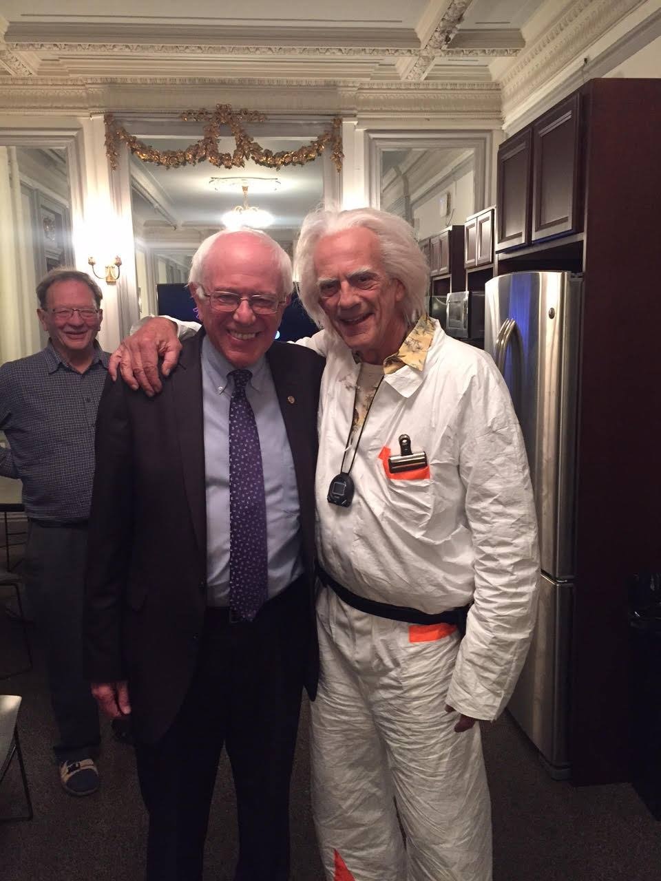 Bernie Sanders with Christopher Lloyd,  Doc Watson  from Back to the Future on Oct. 21, 2015.