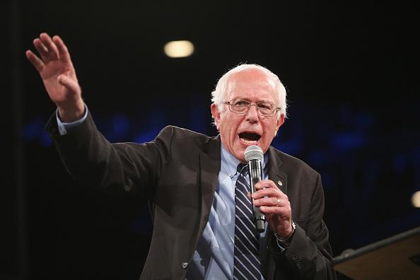 Vermont Sen. Bernie Sanders speaks to the Jefferson-Jackson Dinner on October 24, 2015 in Des Moines, Iowa.