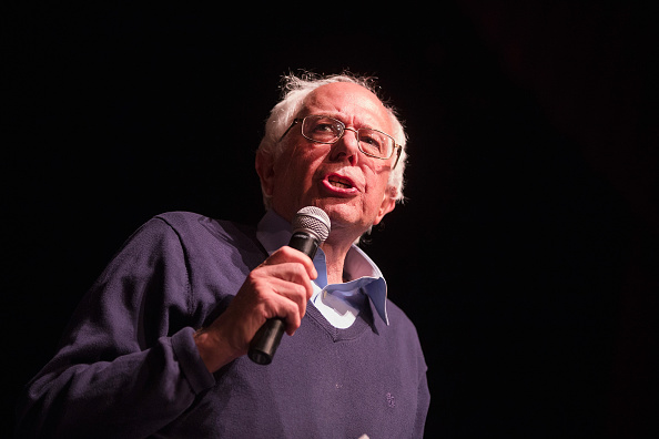 Democratic presidential candidate Senator Bernie Sanders (I-VT) speaks at a concert he was hosting to raise support for his campaign at the Adler Theater on October 23, 2015 in Davenport, Iowa.