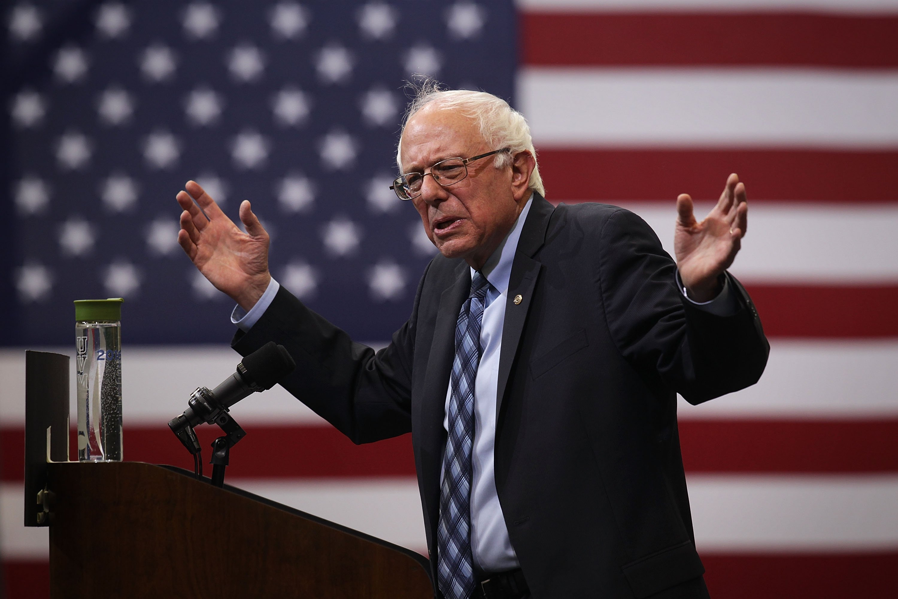 Democratic presidential candidate and U.S. Sen. Bernie Sanders (I-VT) speaks during a  National Student Town Hall  at George Mason University on Oct. 28, 2015 in Fairfax, Virginia.