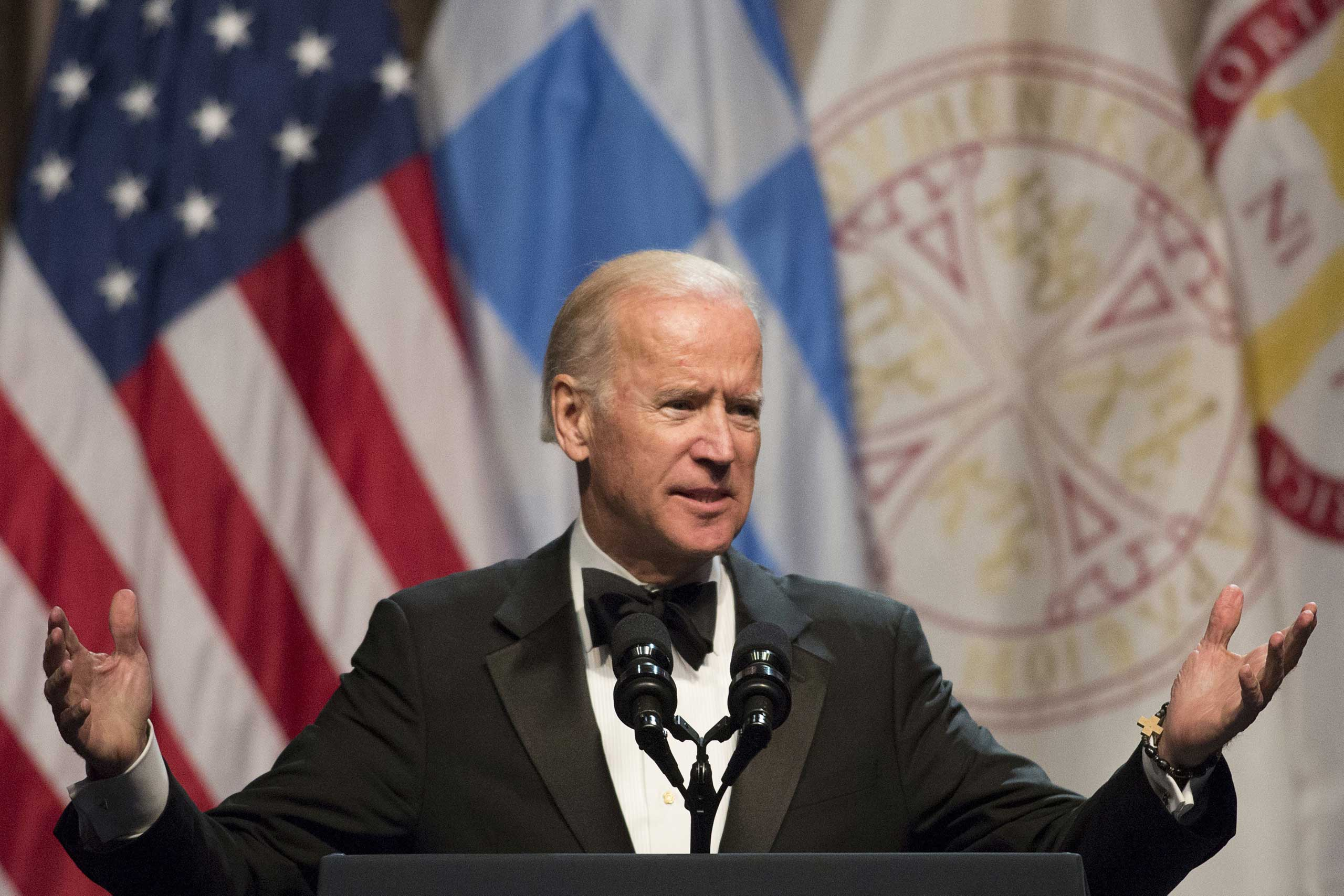 U.S. Vice President Joe Biden speaks after receiving the Athenagoras Human Rights Award from the Order of St. Andrew, Archons of the Ecumenical Patriarchate, in New York City on Oct. 17, 2015