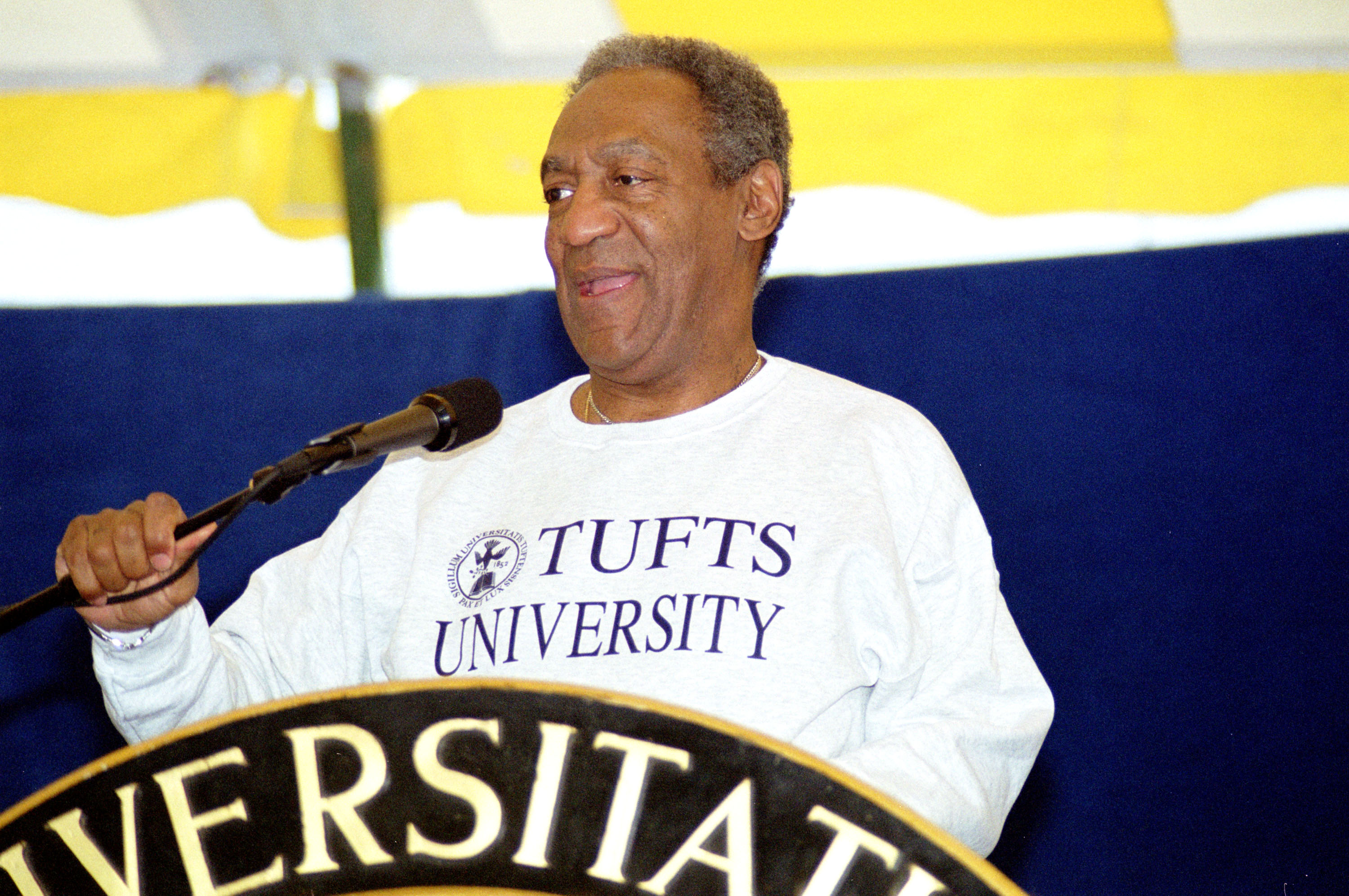 Comedian Bill Cosby speaks to graduates on May 21, 2000 after receiving an honorary degree from Tufts University in Medford, MA.