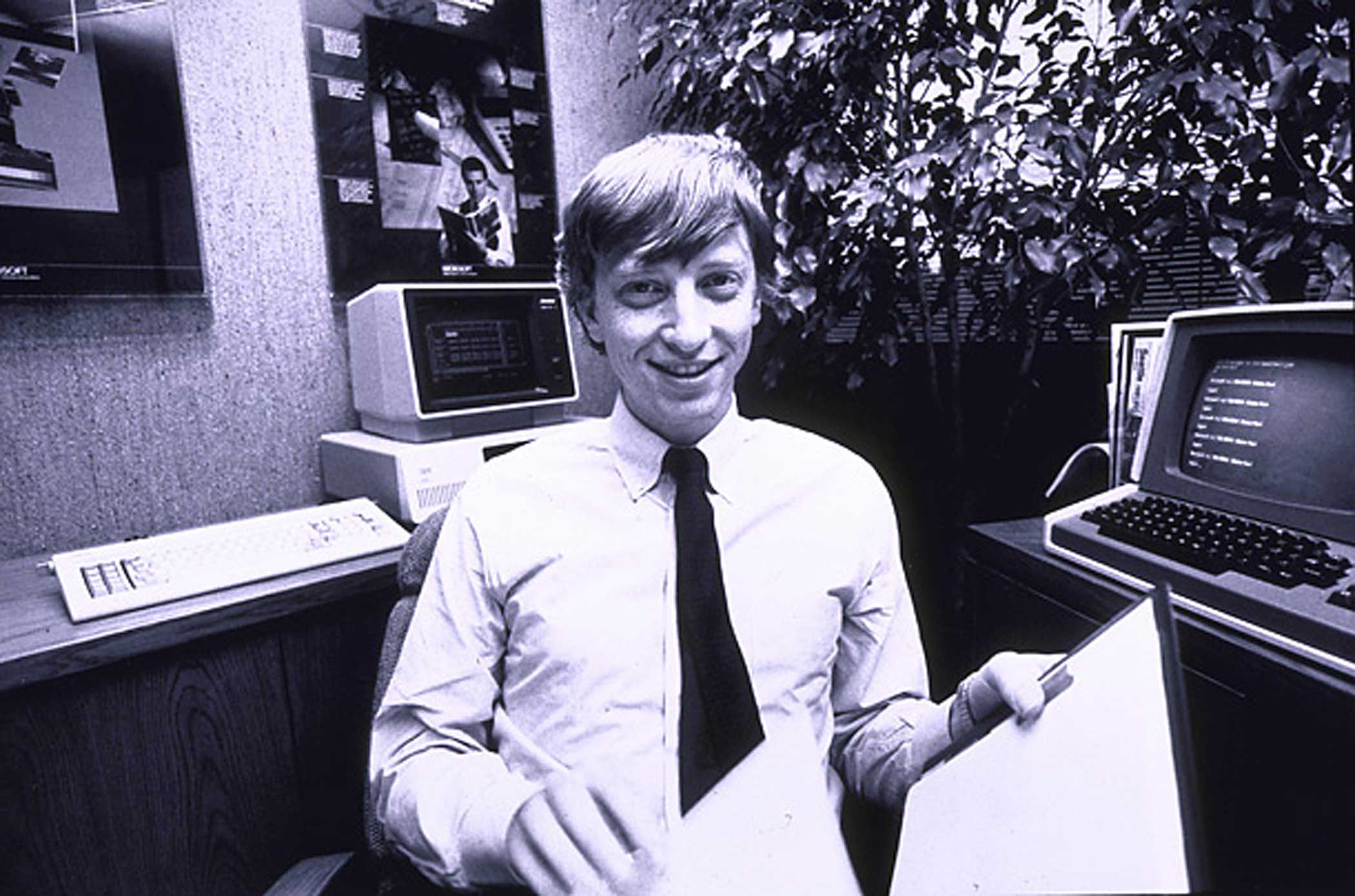 Bill Gates, about 27, in his Microsoft office in 1982.