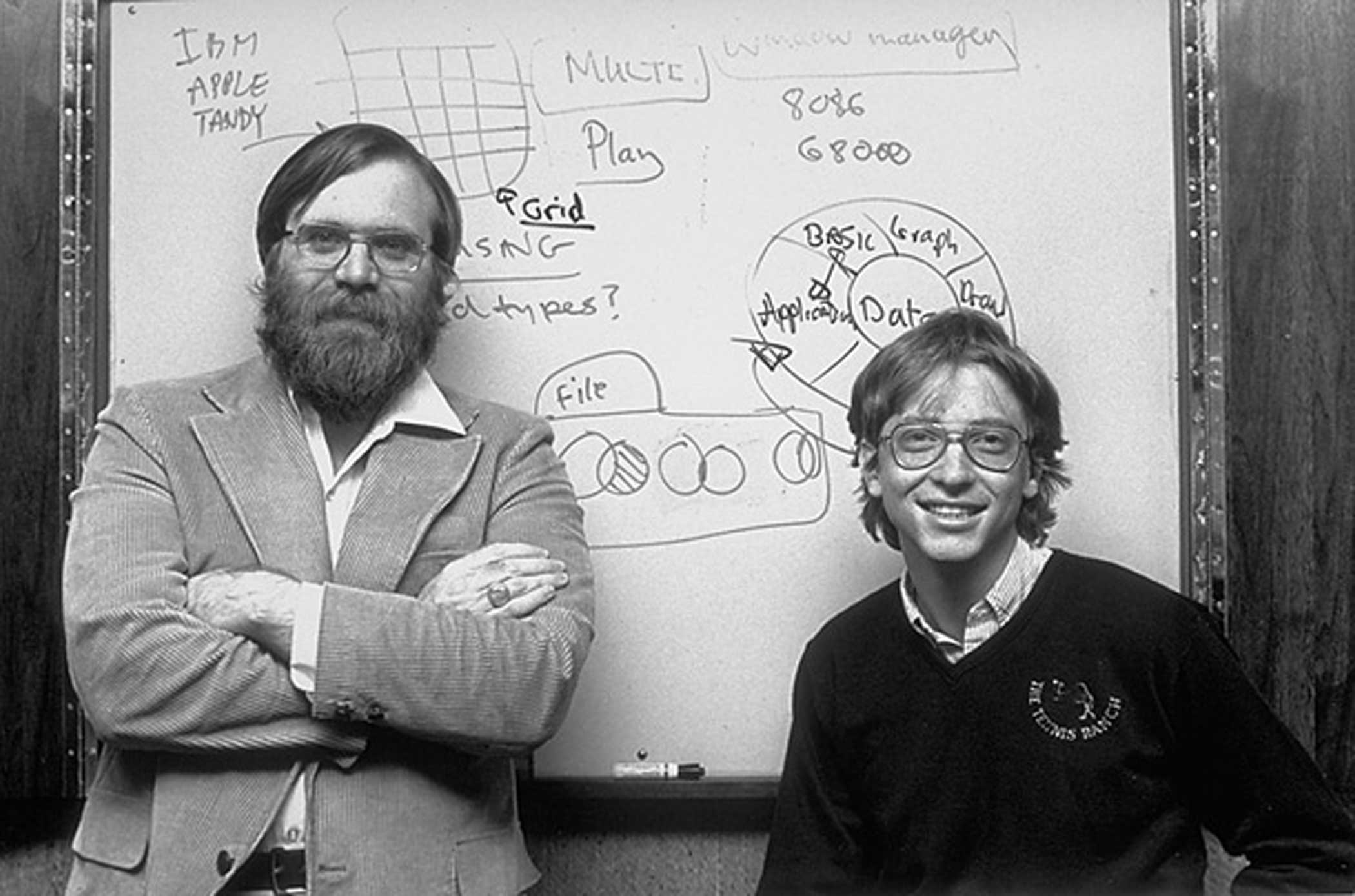 Gates and Paul Allen in Microsoft's offices in 1982. Started initially in New Mexico, the company moved to Bellevue, Wash., in January 1979.