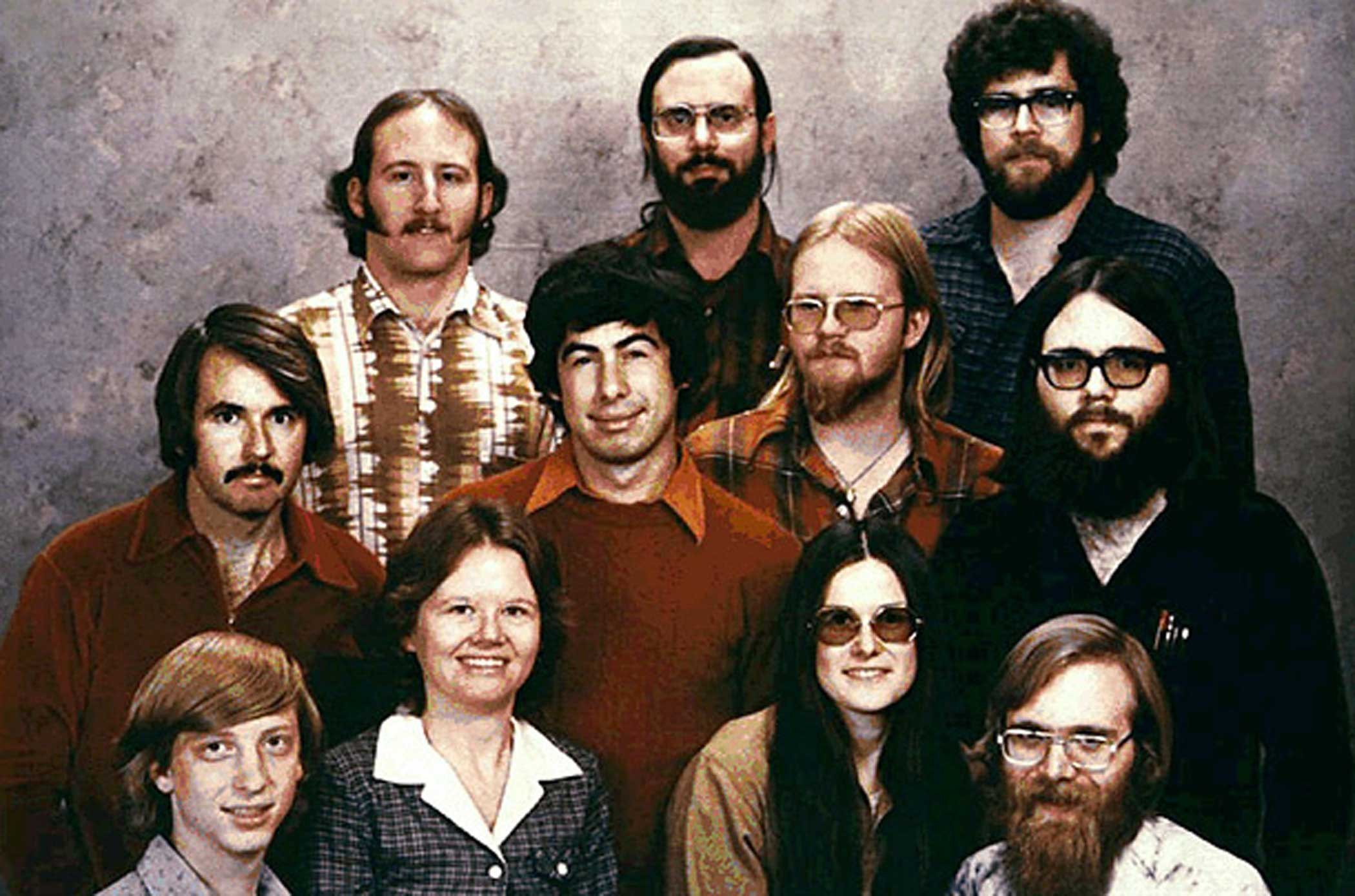 The early team at Microsoft paused for a group portrait in 1978. Gates is at the bottom left.