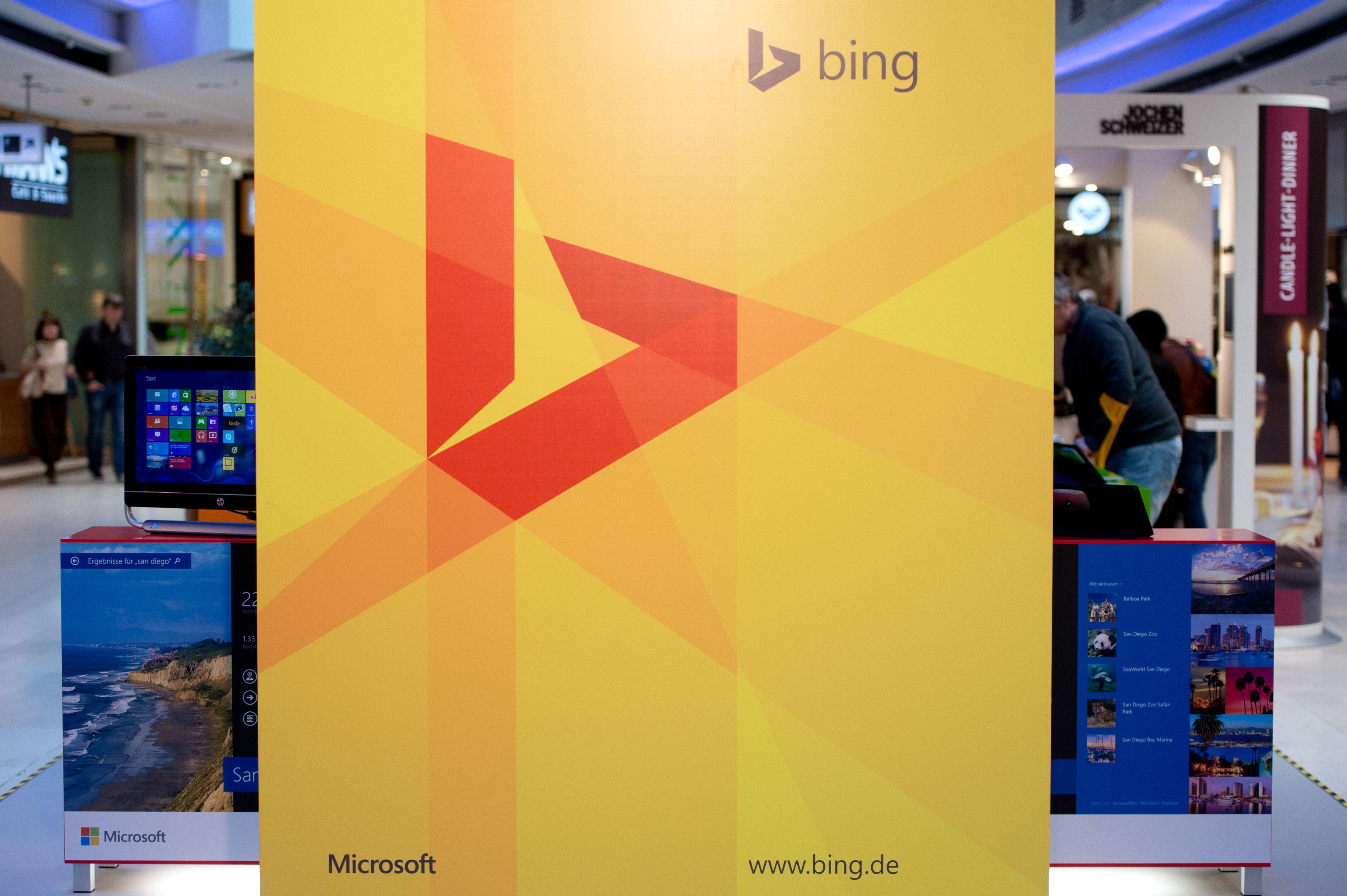 Microsoft's Bing logo is displayed on July 5, 2014 in Stuttgart, Germany.