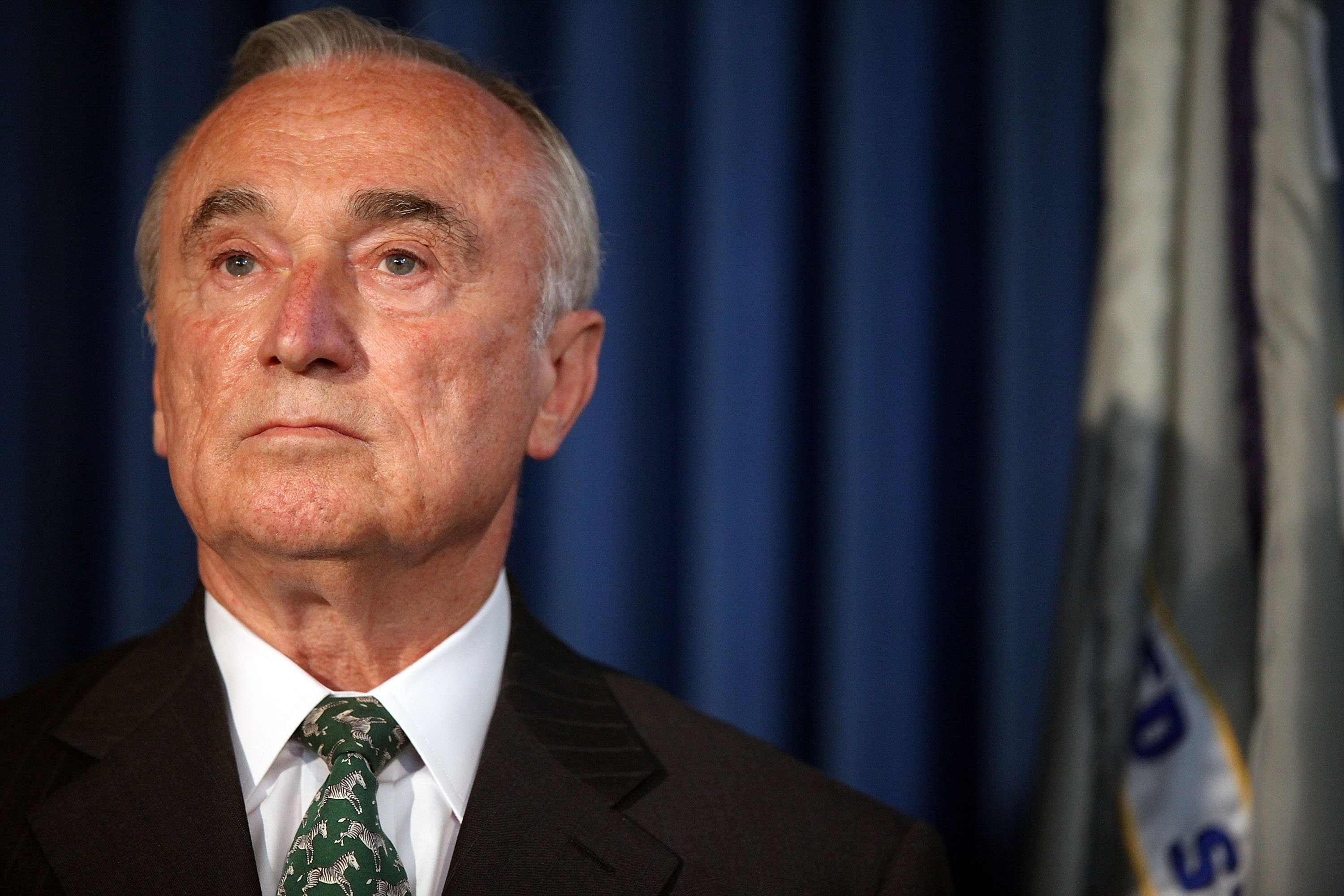 New York Police Department Commissioner William J. Bratton, at a news conference with other law enforcement heads where it was announced that the Federal and New York City authorities have broken up a group that trafficked in synthetic marijuana, known as K2 in New York City, on Sept. 16, 2015.