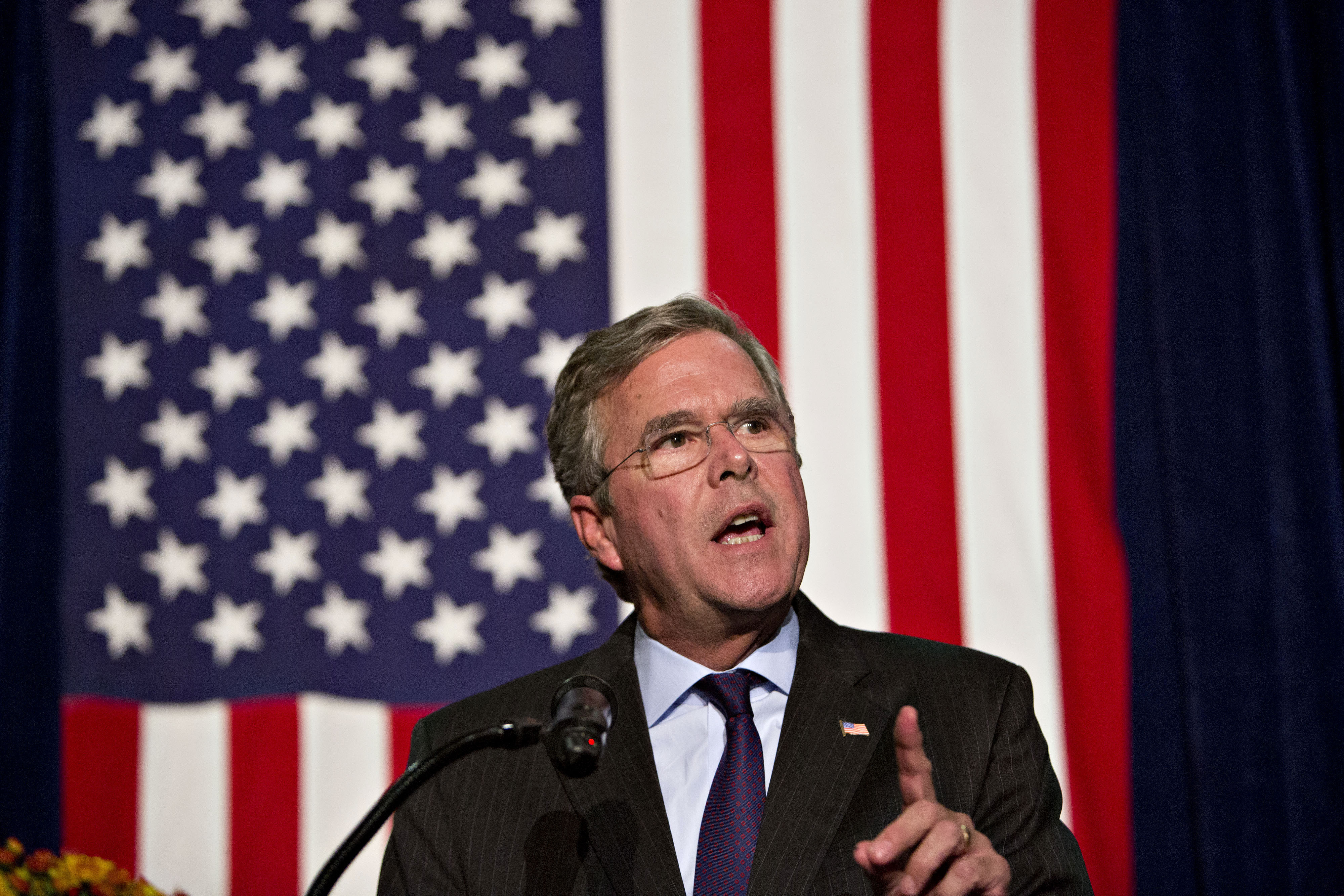 Jeb Bush, former Governor of Florida and 2016 Republican presidential candidate, speaks during the Scott County Republican party Ronald Reagan Dinner in Davenport, Iowa, U.S., on Oct. 6, 2015.