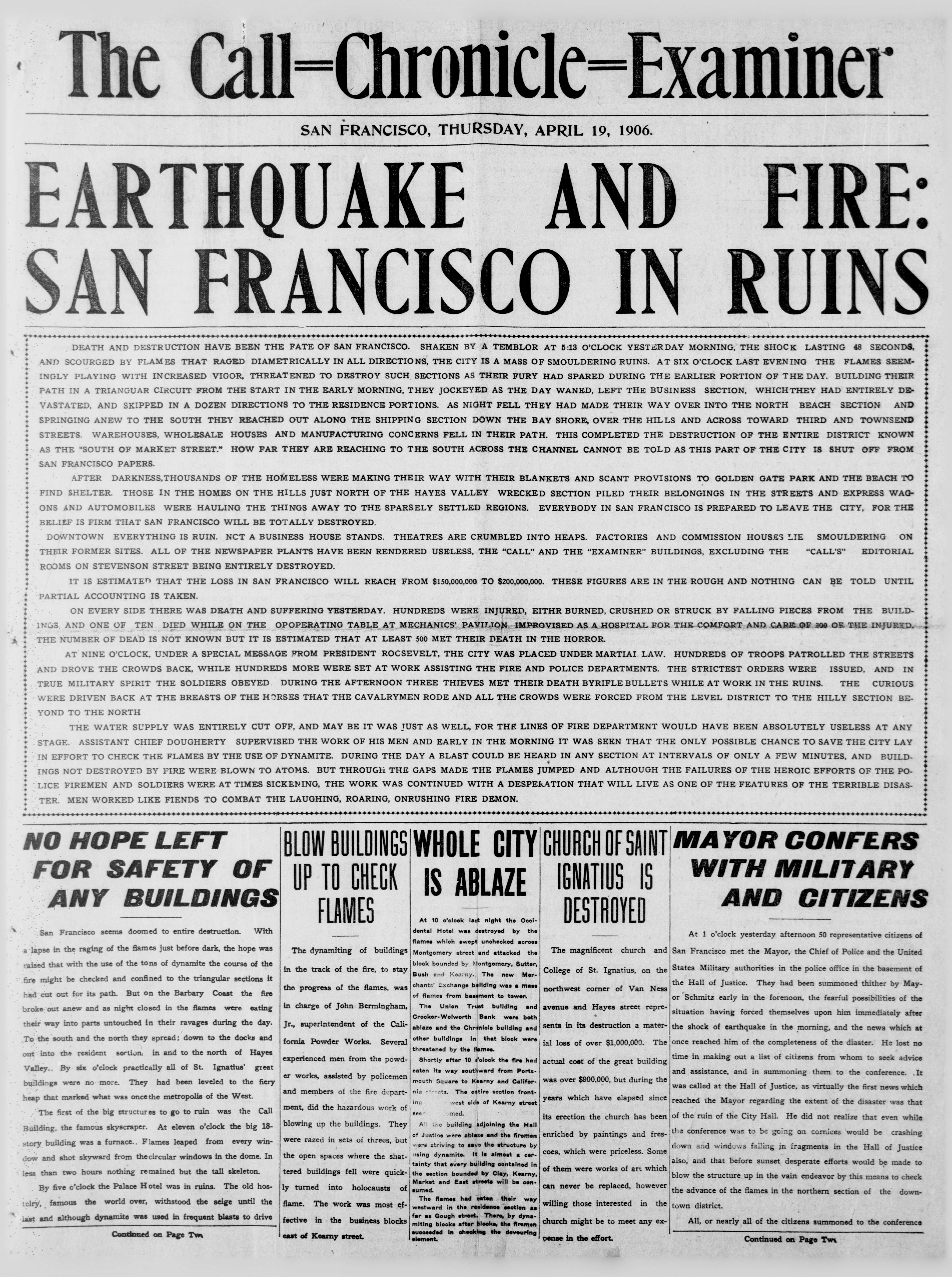 The Call-Chronicle-Examiner. (San Francisco, Calif.), April 19, 1906. Front page news: The great San Francisco fire of 1906.