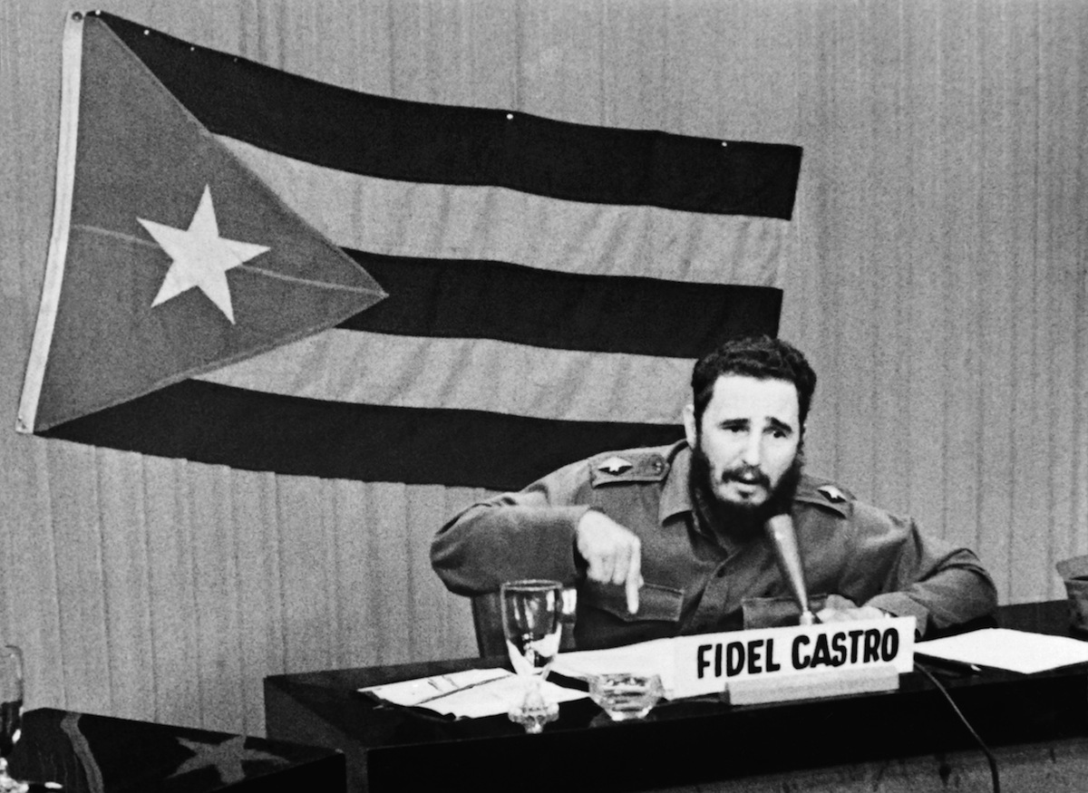 Fidel Castro announces general mobilization after the announcement of Cuba blockade by US President John F Kennedy, in Havana, on Oct. 29, 1962.