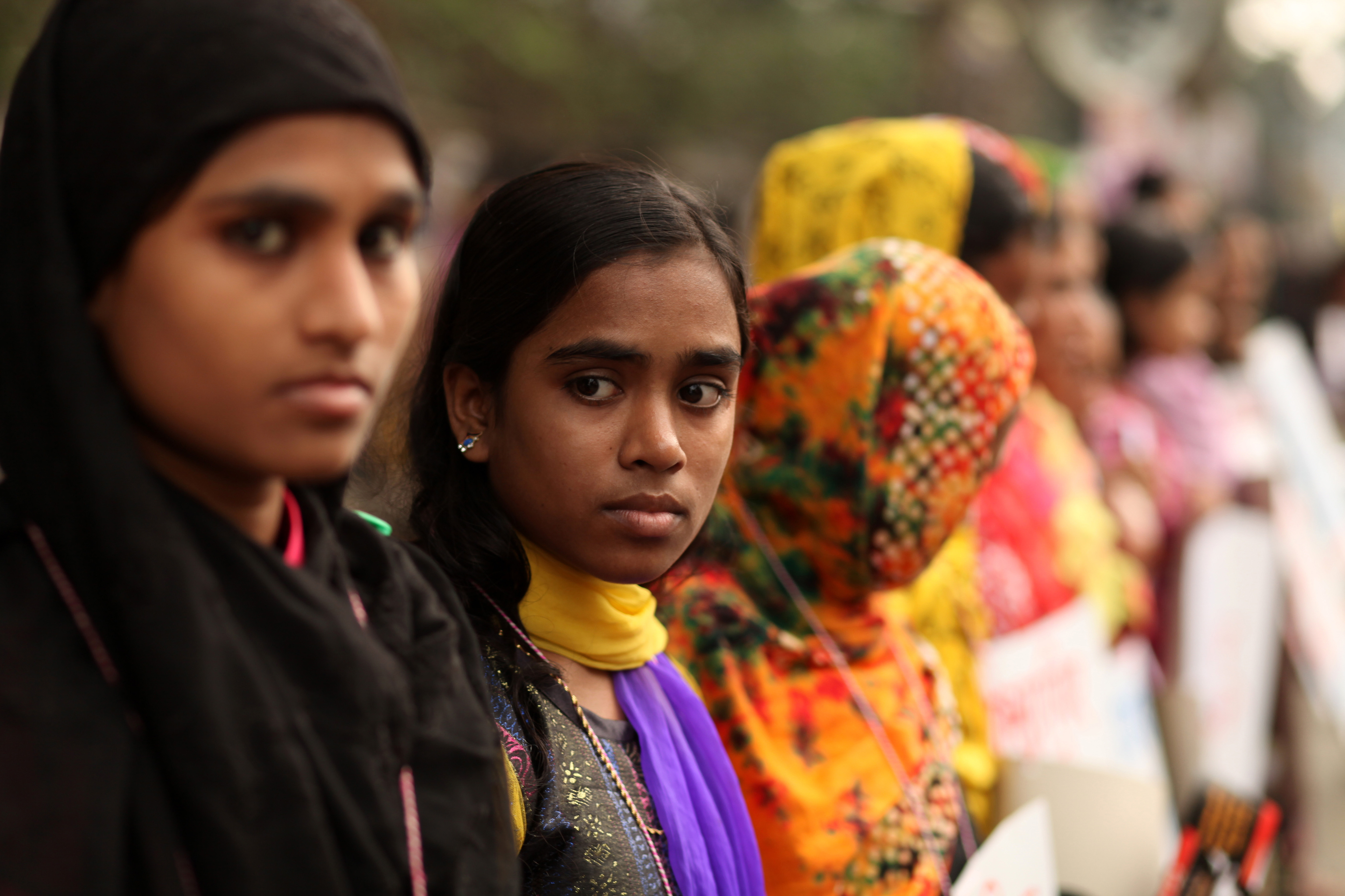 Woman organizations protest against child marriage in front of Press Club in Dhaka, Bangladesh, on Dec. 3, 2014.