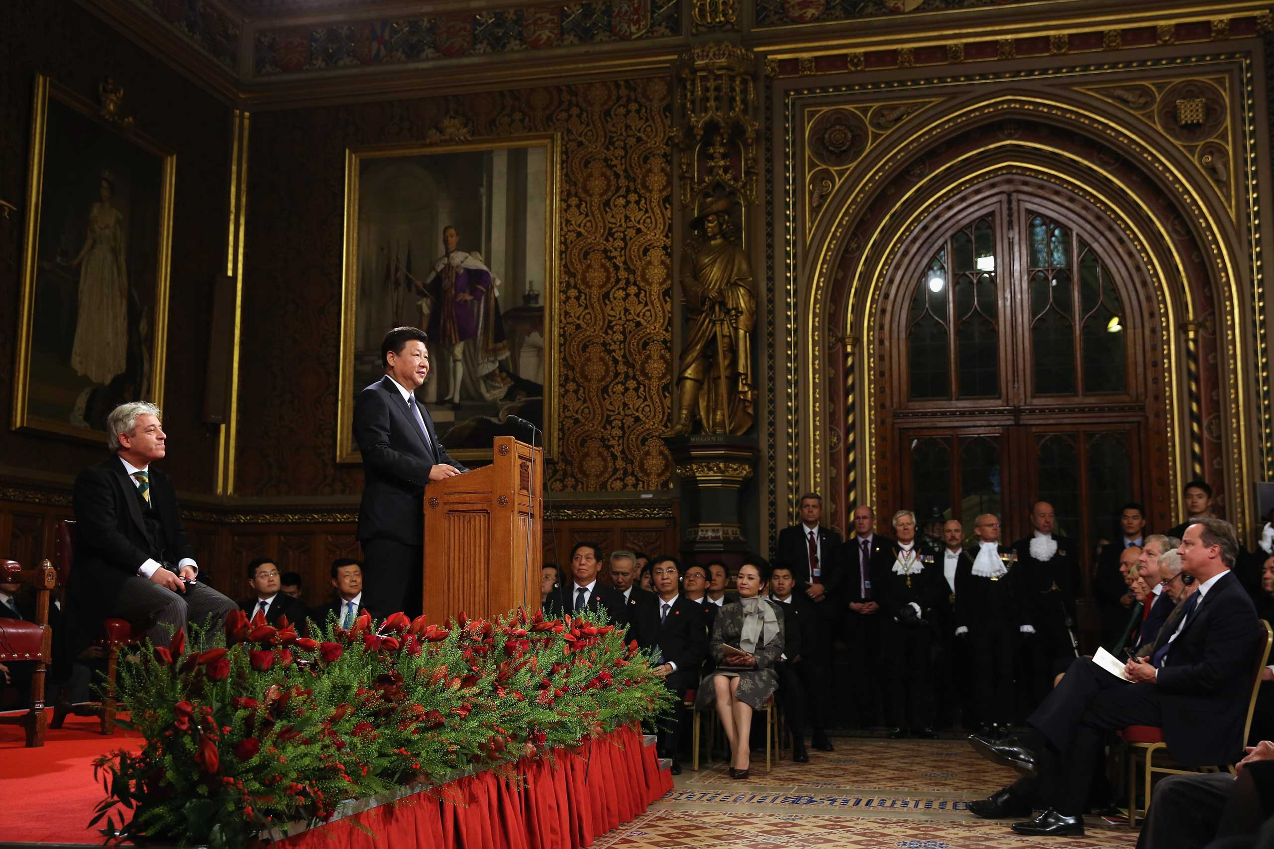 President, Xi addresses MPs and peers in Parliament's Royal Gallery in London, on Oct. 20, 2015.