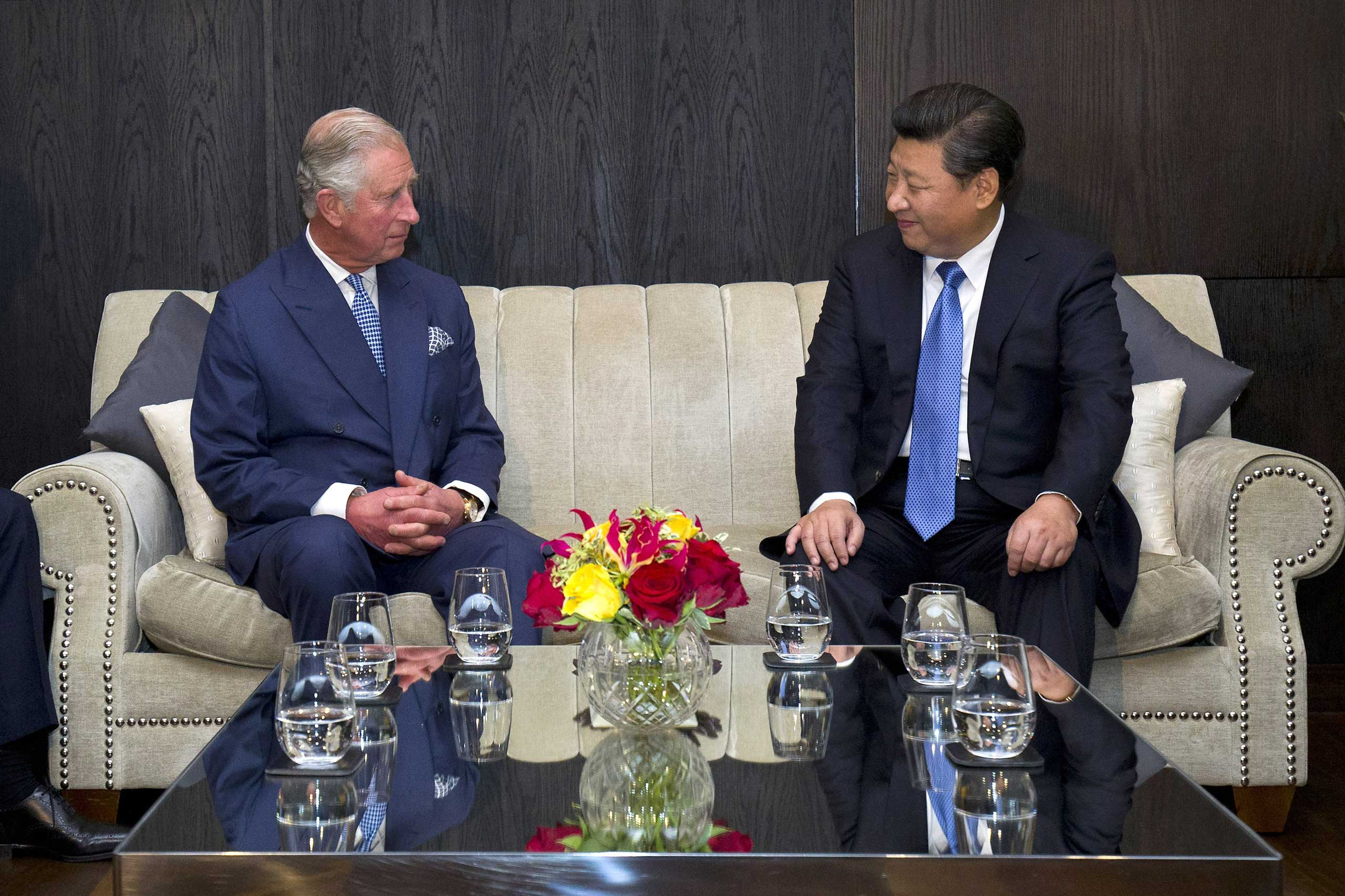 Prince Charles, Prince of Wales meets with President Xi Jinping at the Mandarin Oriental hotel in London, on Oct. 20, 2015