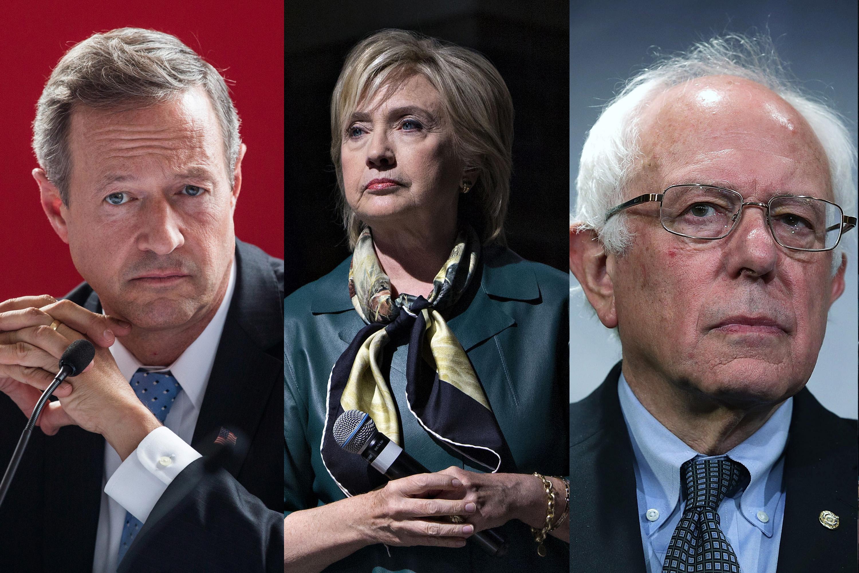 Martin O'Malley on Sept. 14, 2015 in New York City (R); Hillary Clinton in Davenport, Iowa on Oct. 6, 2015 (C); Bernie Sanders on Sept.17, 2015 in Washington, DC. (R).