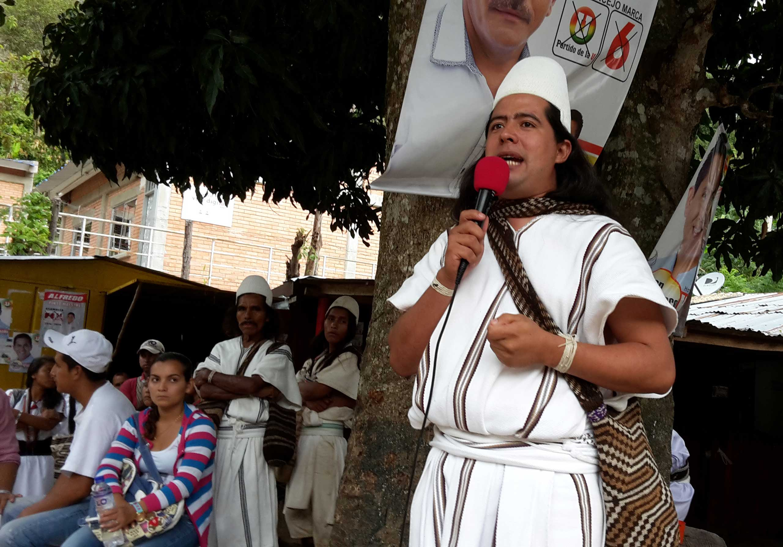 Saul Mindiola, an Arhuaco Indian who is running for mayor of the Colombian town of Pueblo Bello, gives a campaign speech in Pueblo Bello, on Sept. 20, 2015. Mindiola fears he could lose Sunday's election due to vote fraud, a major problem in hundreds of Colombian towns and cities.