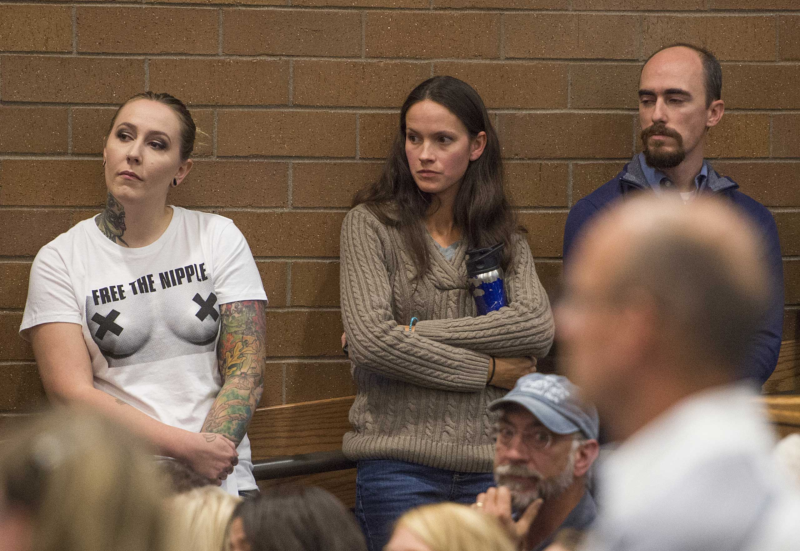 Samantha Six, left, waits to speak with the Fort Collins City Council during public comments on giving women the permission to appear topless in public  in Fort Collins, Colo., on Oct. 20, 2015.