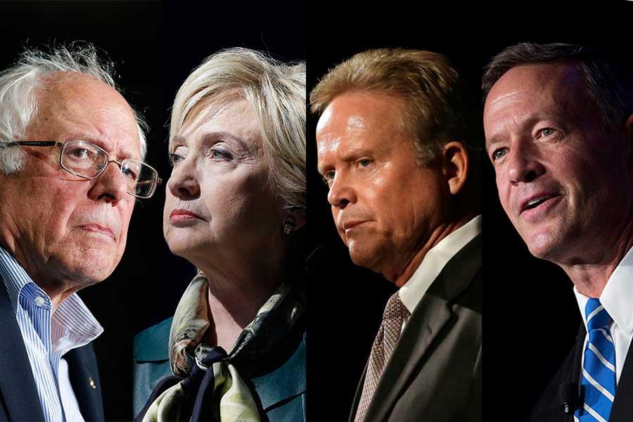 Sen. Bernie Sanders of Vermont, Democratic presidential candidate Hillary Rodham Clinton, former Sen. Jim Webb and former Maryland Gov. Martin O'Malley