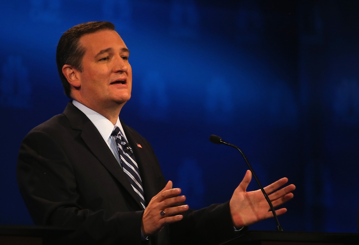 Presidential candidate Sen. Ted Cruz (R-TX) speaks during the CNBC Republican Presidential Debate at University of Colorados Coors Events Center Oct. 28, 2015 in Boulder, Colo.