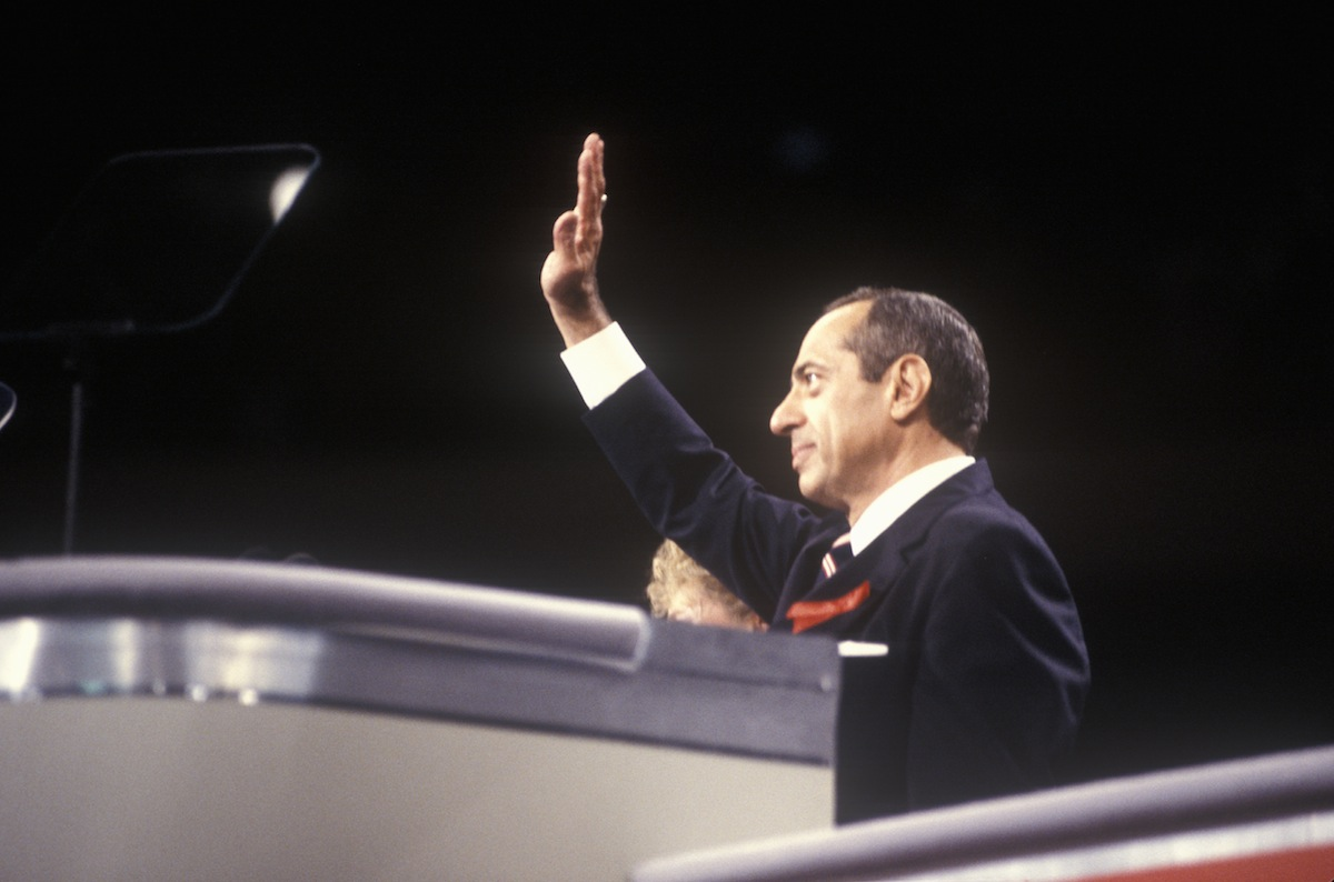 Former New York Governor Mario Cuomo addresses crowd at the 1992 Democratic National Convention at Madison Square Garden, New York City