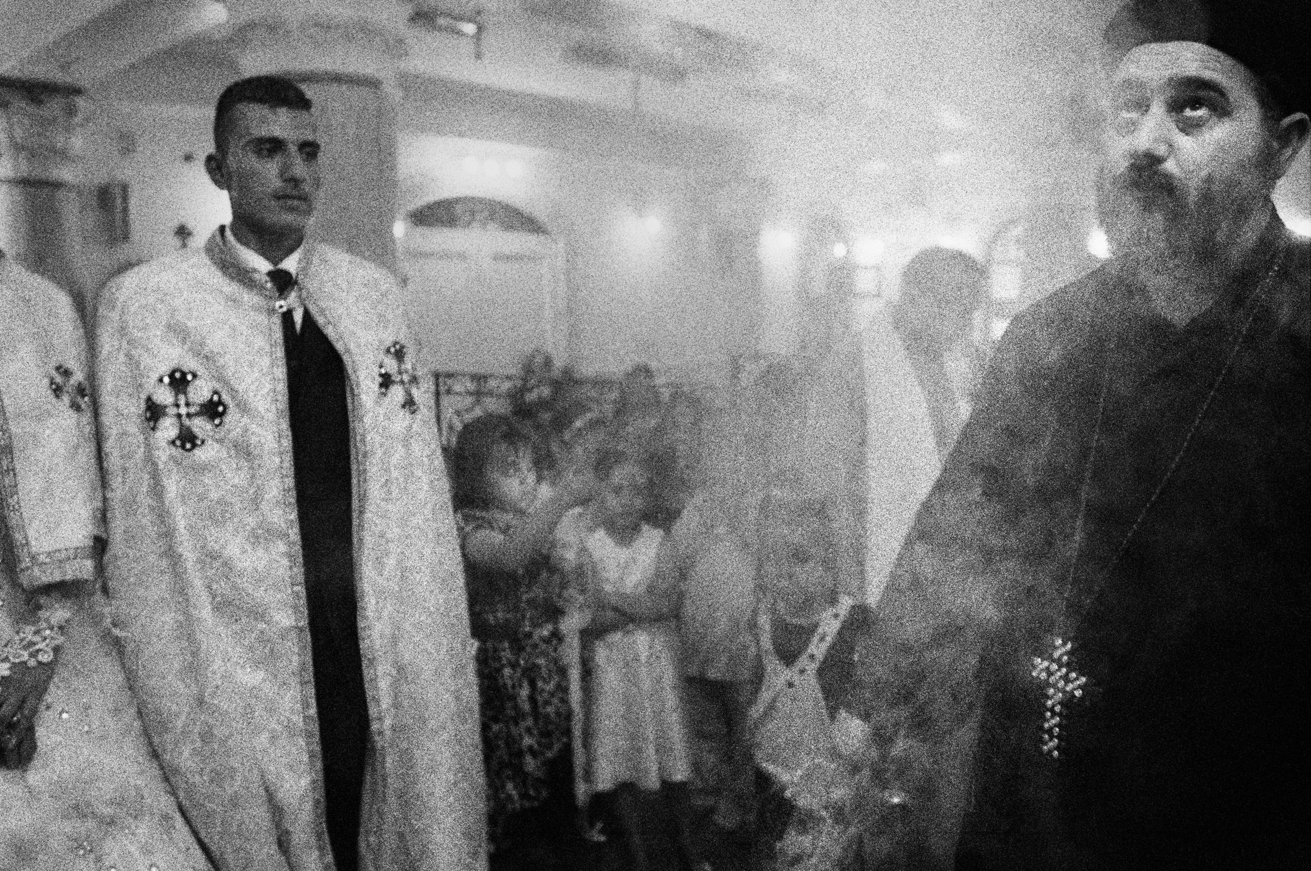 Deir Abu Hennis, Egypt. An Orthodox wedding. The Catholic community of the village is a minority, but the relationships between the two denominations are good. During festivities, representatives of each denomination pay tribute to others. July 2012.