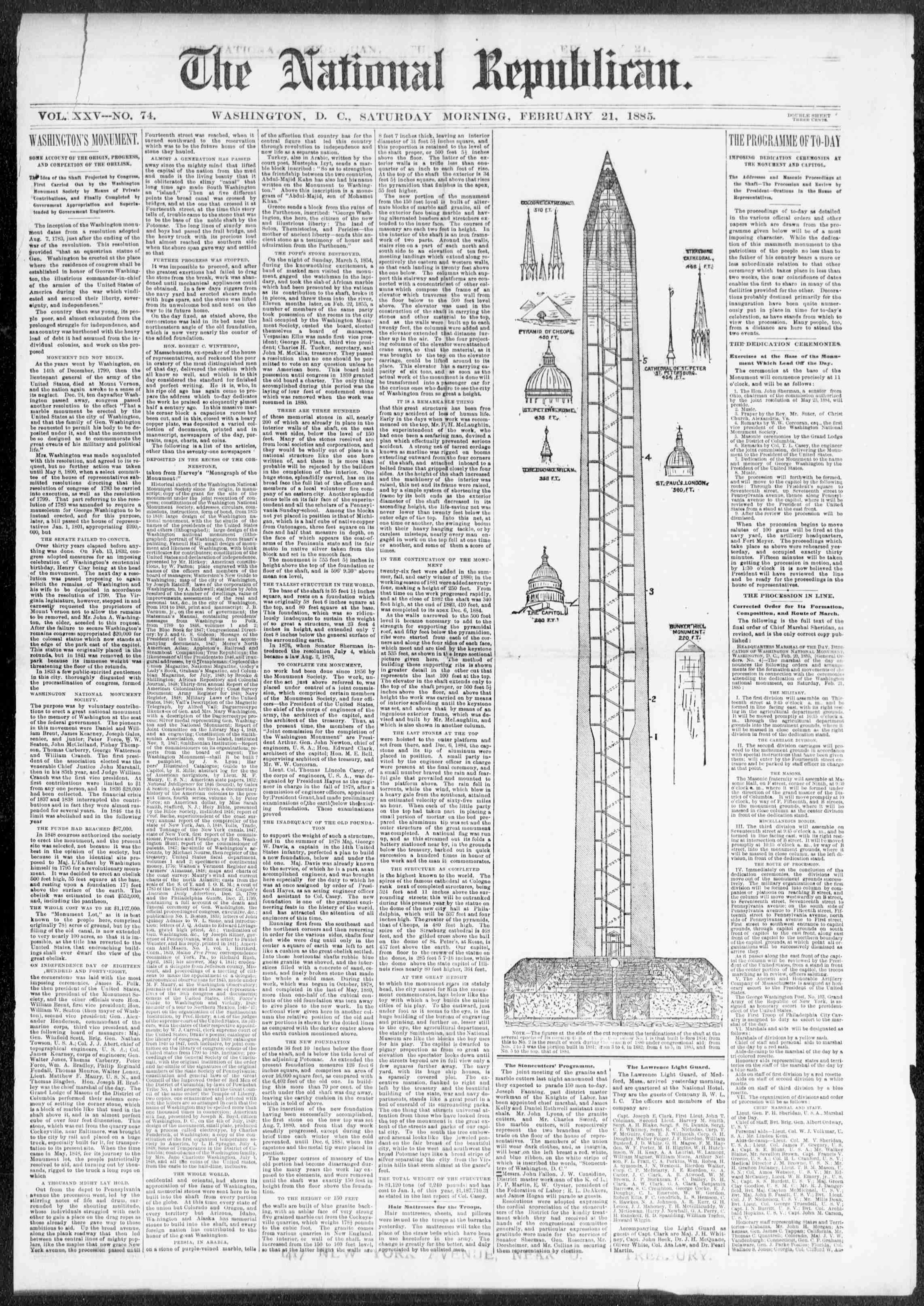 National Republican. (Washington City (D.C.)), Feb. 21, 1885.Front page news: Dedication of the Washington Monument.