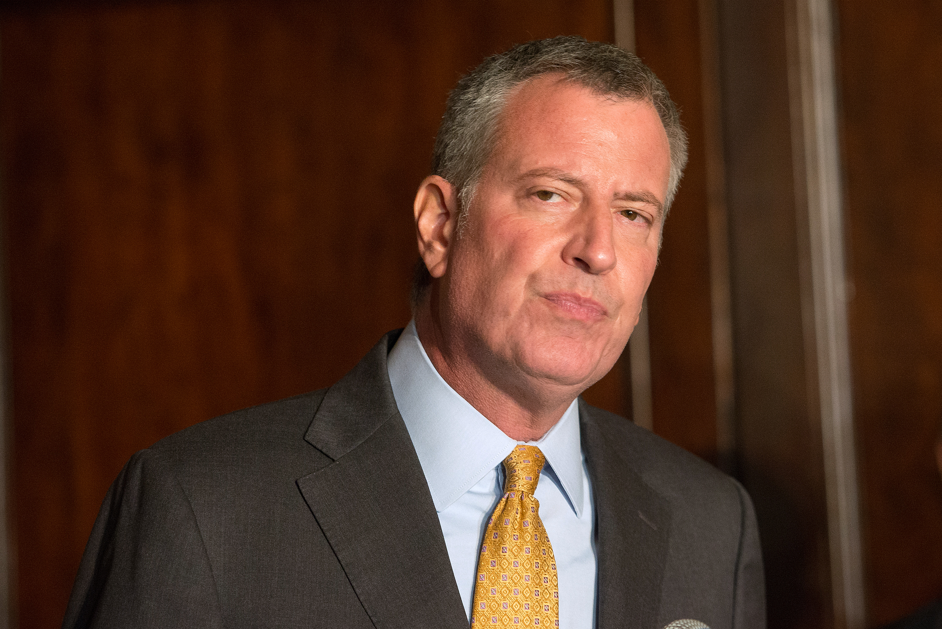 New York City Mayor Bill de Blasio attends the Answer the Call 30th Anniversary Gala at The Waldorf Astoria on October 22, 2015 in New York City.