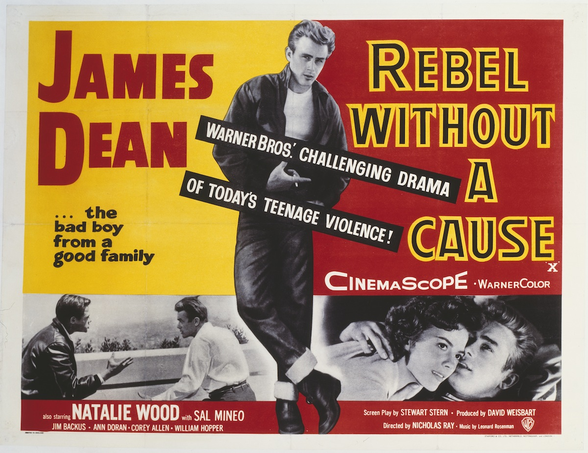 A poster for Nicholas Ray's 1955 drama 'Rebel Without a Cause' starring James Dean.