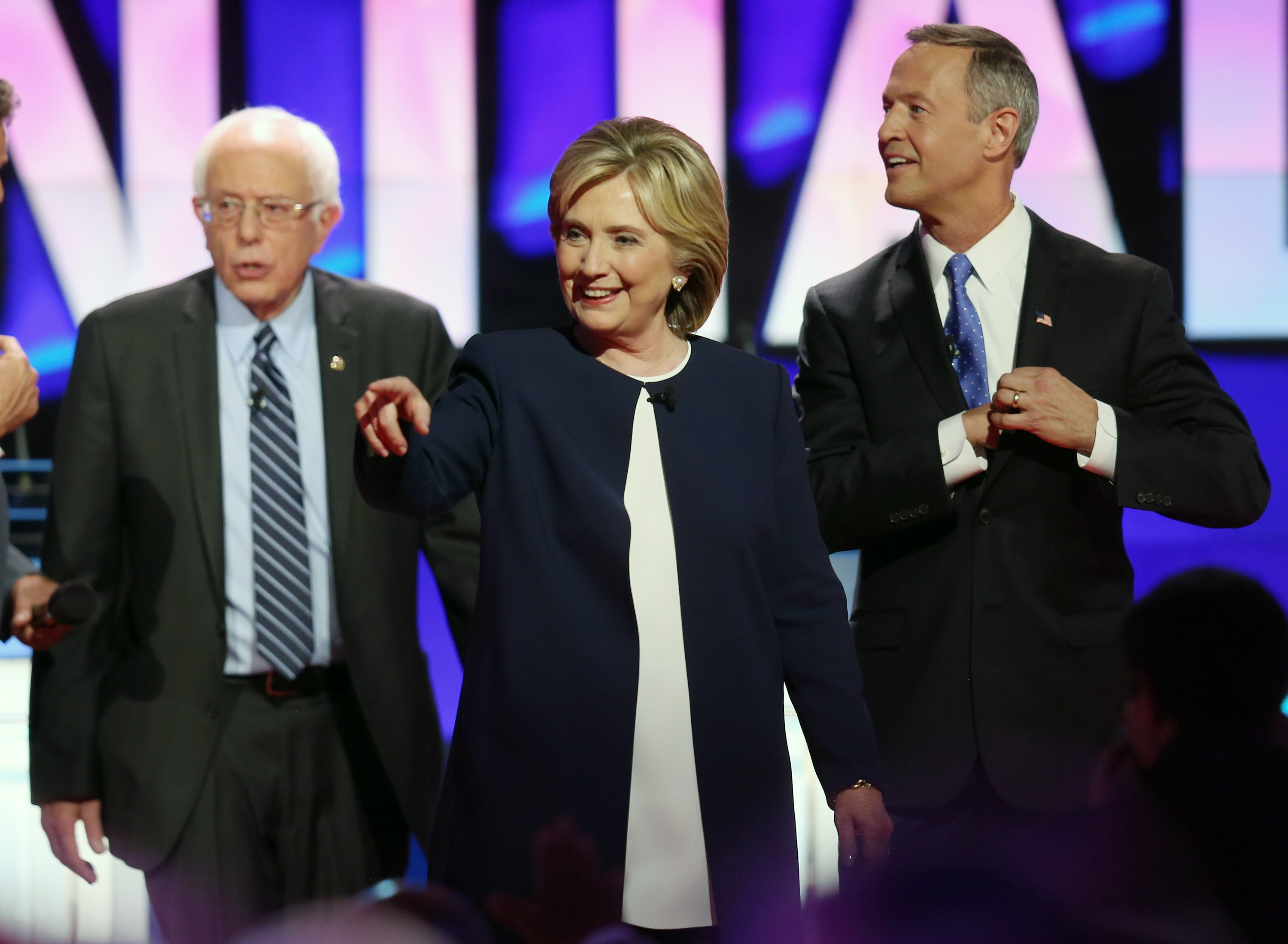 Sen. Bernie Sanders (I-VT) Hillary Clinton and Martin O'Malley walk on the stage at the end of a presidential debate on Oct. 13, 2015 in Las Vegas.