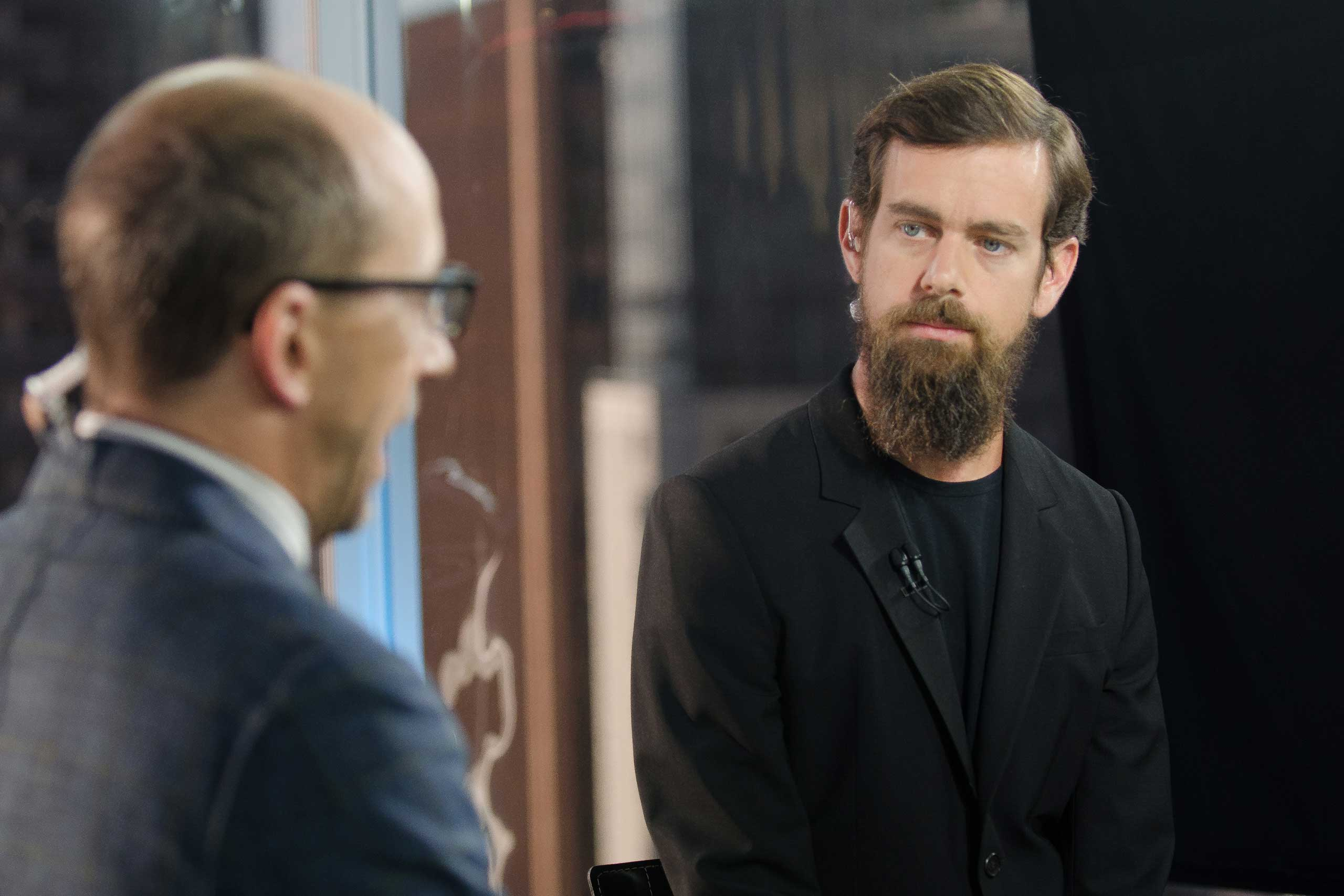 Dick Costolo and Jack Dorsey in an interview at CNBC's San Francisco bureau, on June 12, 2015.
