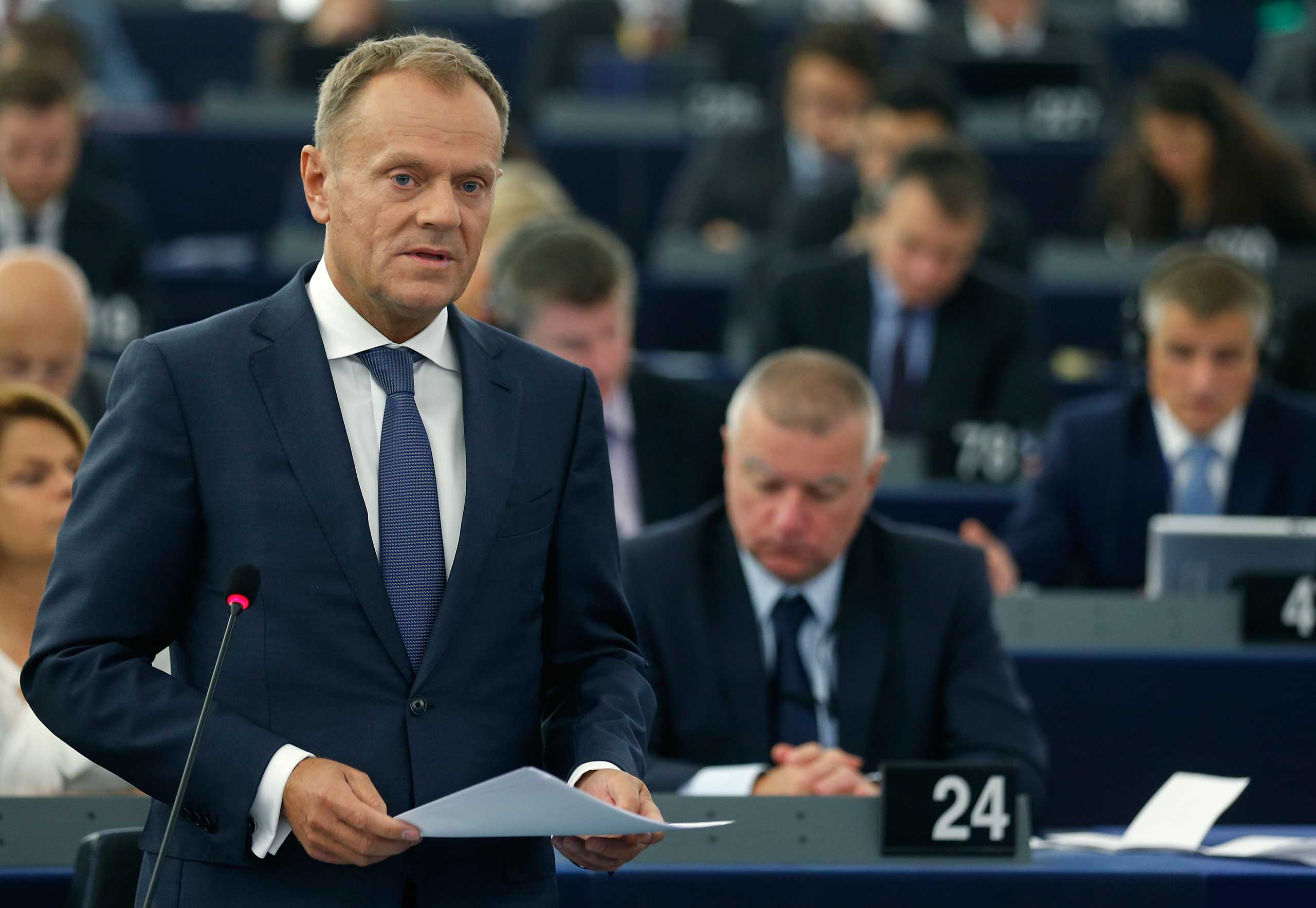 European Council President Donald Tusk addresses the European Parliament during a debate on the results of the last informal European Council, in Strasbourg, France, Oct. 6, 2015.