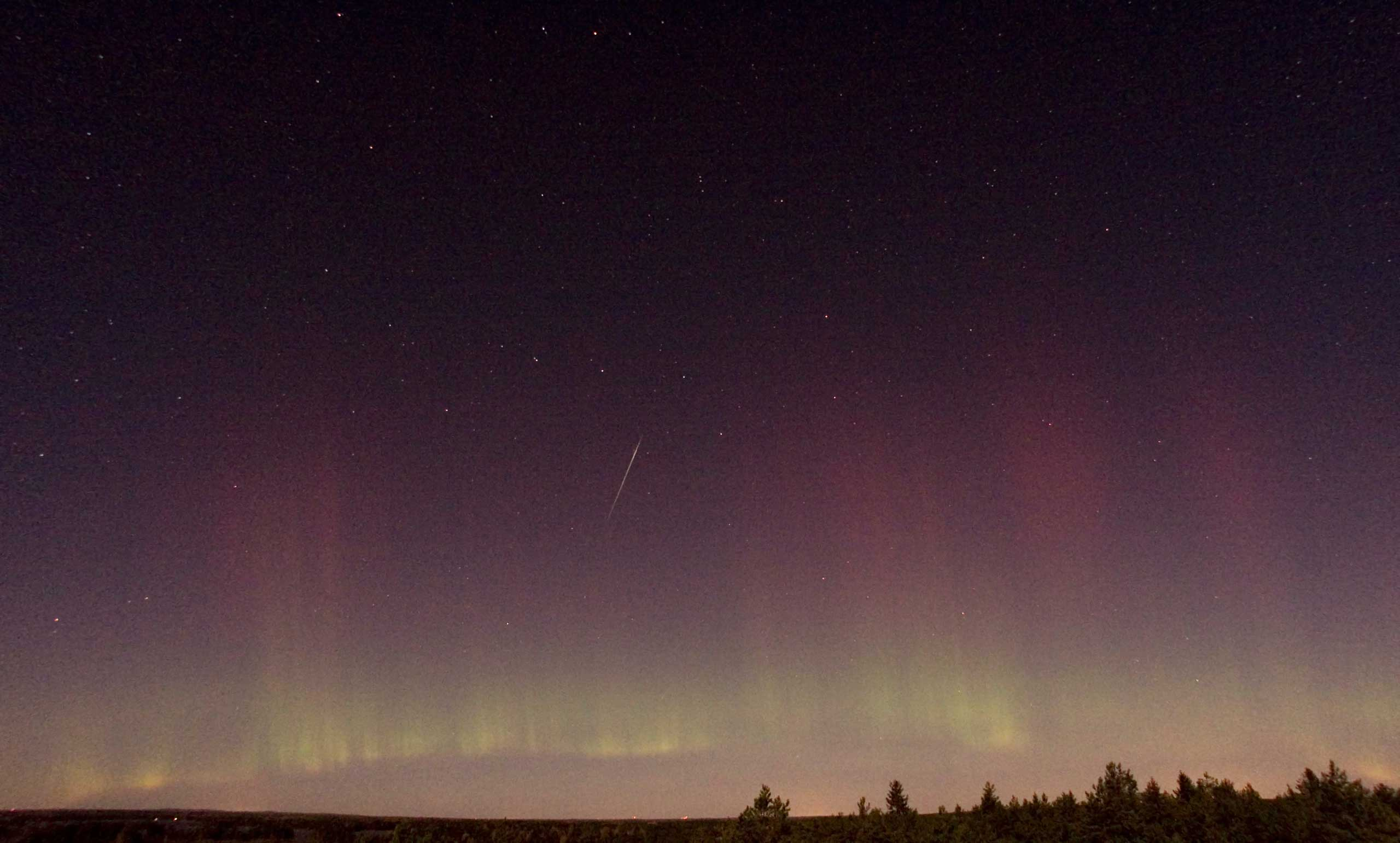 View of a shooting star (Draconid) and northern light near Skekarsbo at the Farnebofjardens national park 150 kilometers north of Stockholm, late on Oct. 8, 2011.
