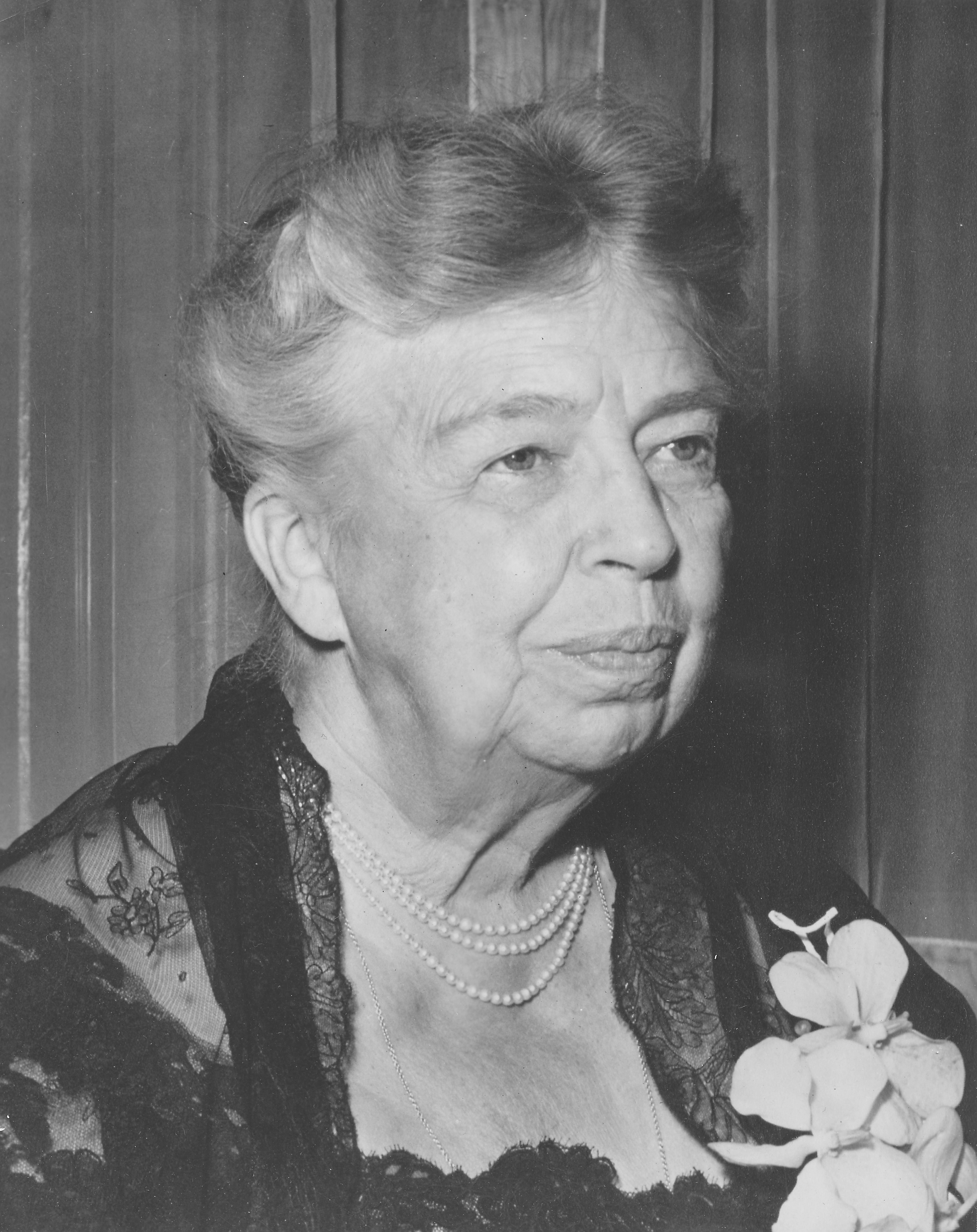 Former United States First Lady Eleanor Roosevelt in Baltimore, circa 1960.