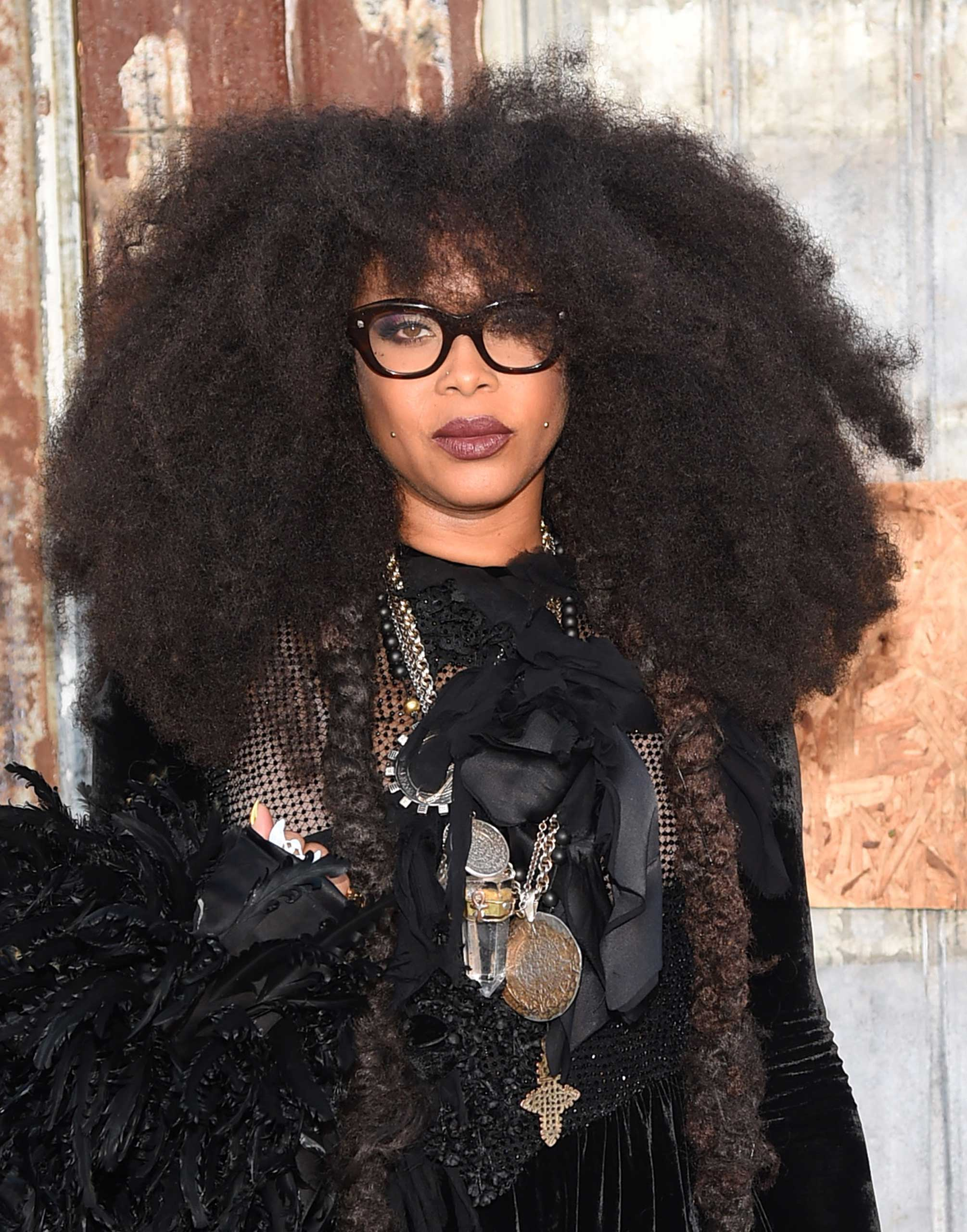 Singer-songwriter Erykah Badu attends the Givenchy fashion show during Spring 2016 New York Fashion Week at Pier 26 at Hudson River Park in New York City on Sept. 11, 2015.