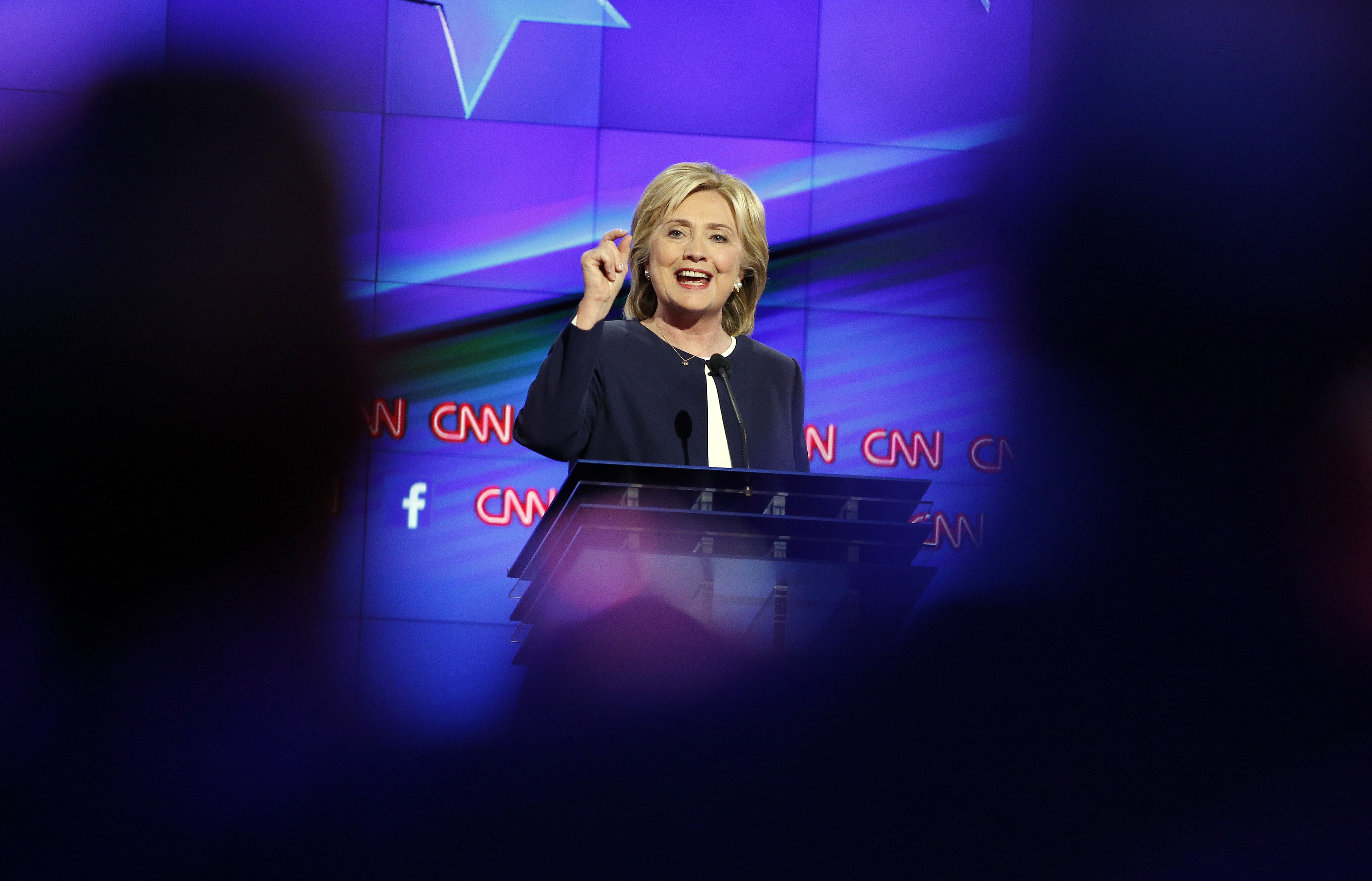 Hillary Rodham Clinton speaks during the CNN Democratic presidential debate, on Oct. 13, 2015, in Las Vegas.