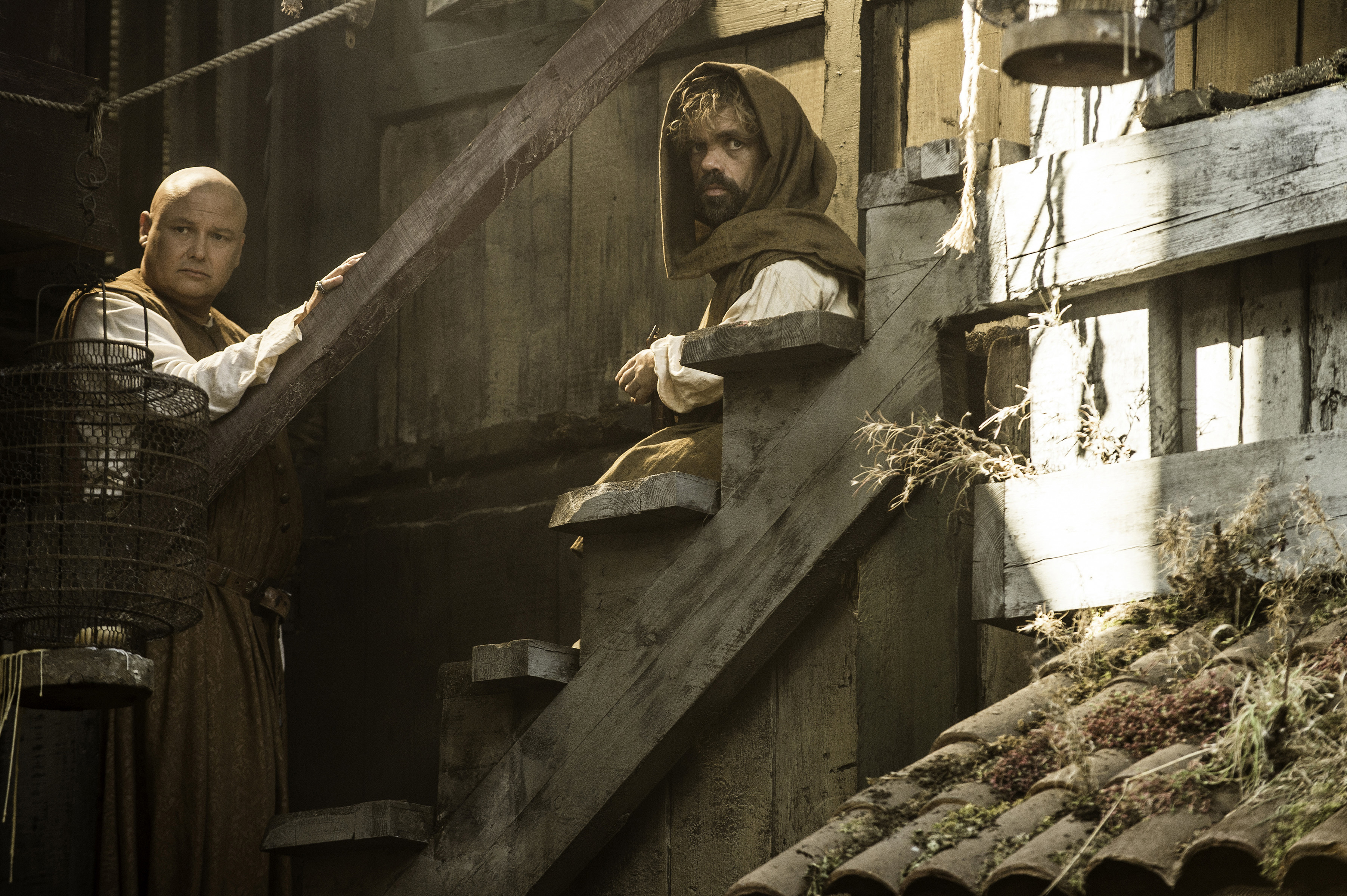 Conleth Hill and Peter Dinklage in Season 5 of Game of Thrones.