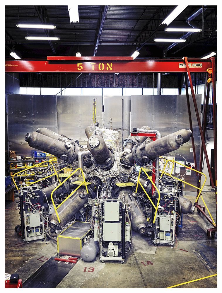 General Fusion's fusion compression system appears in their Burnaby, Canada laboratory, October 19, 2015.From  A Star Is Born.  November 2, 2015 issue.